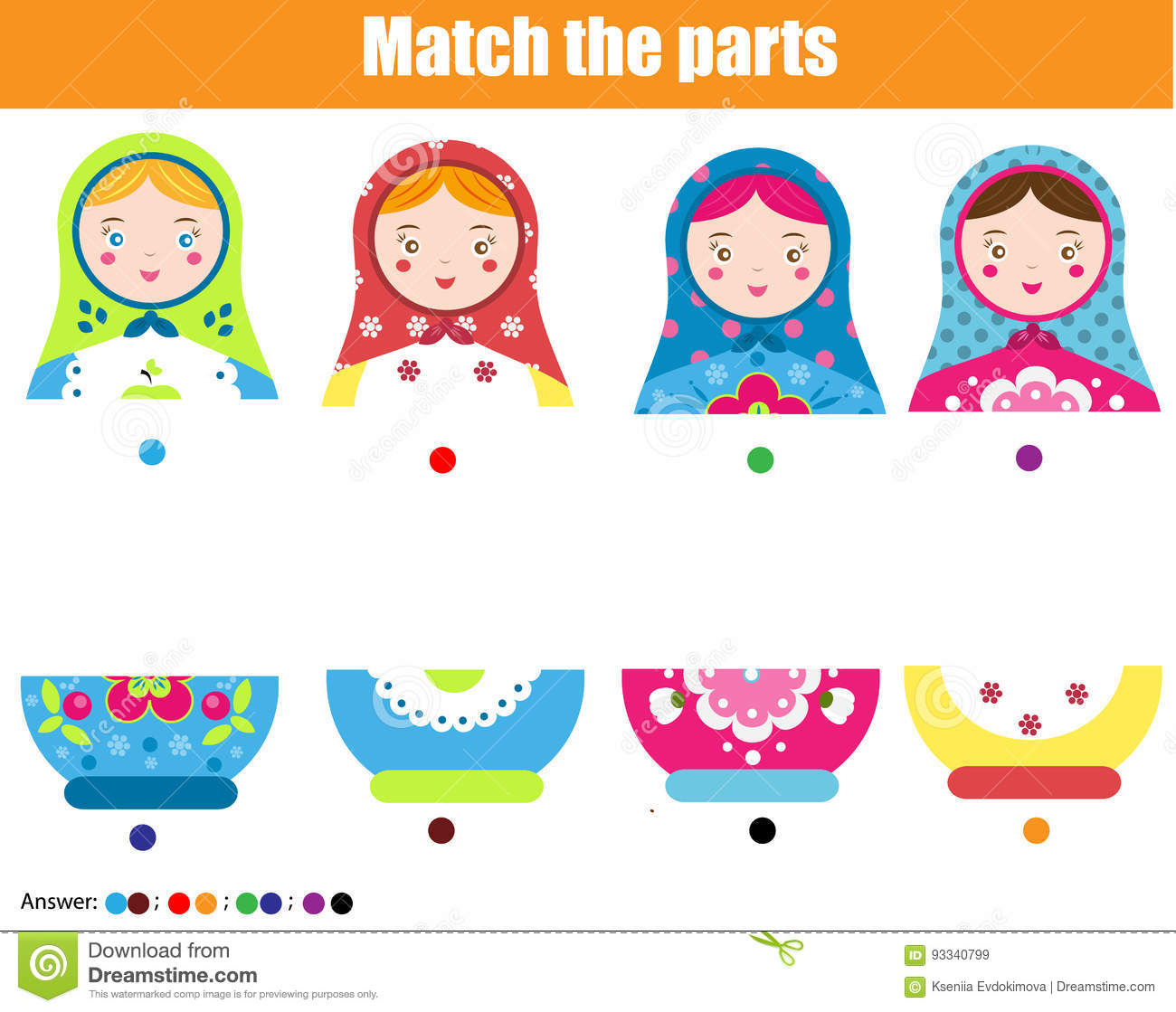 Educational Children Game Match By Color Find Halfs Of