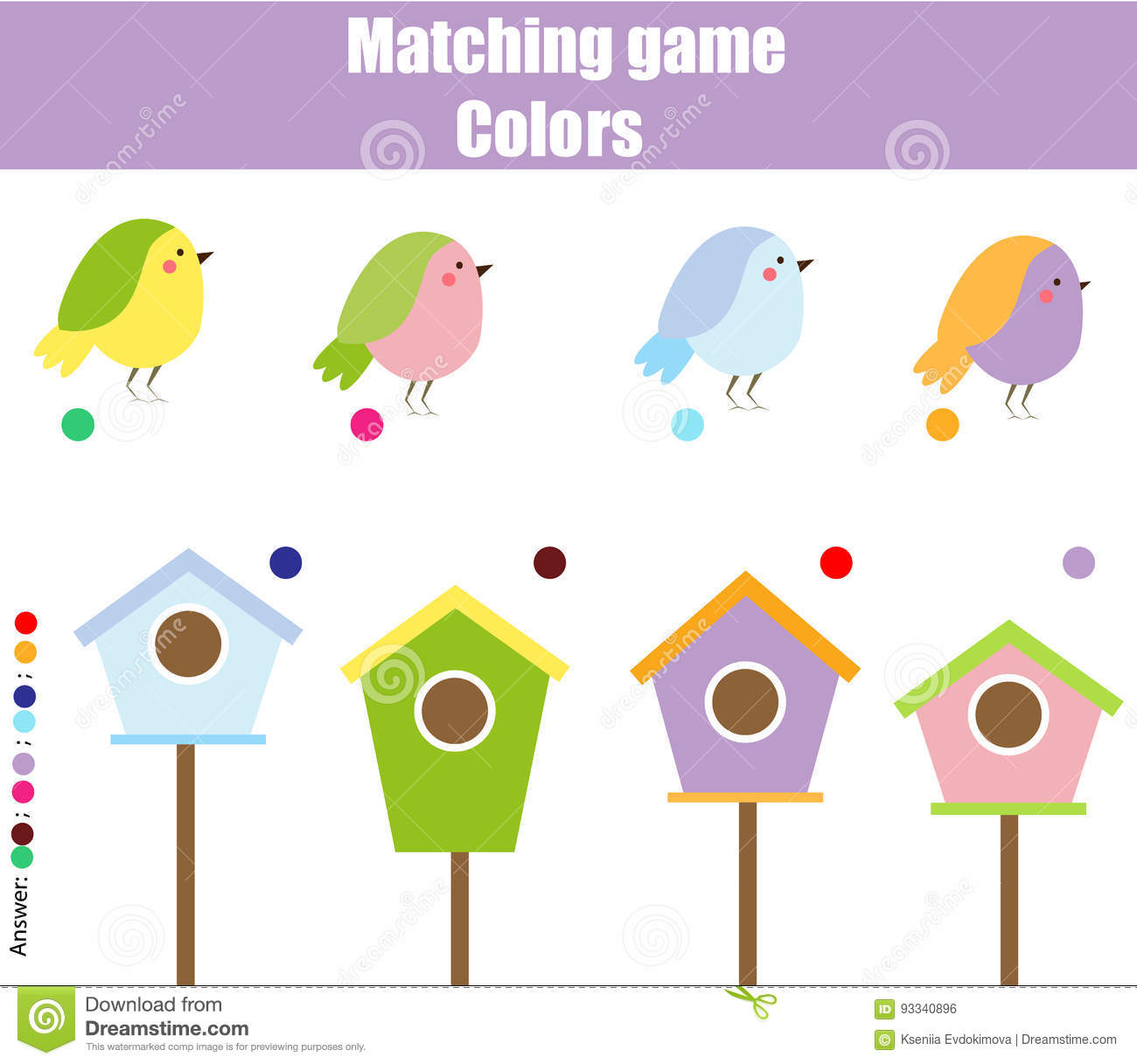 Educational Children Game Match By Color Find Pairs Of
