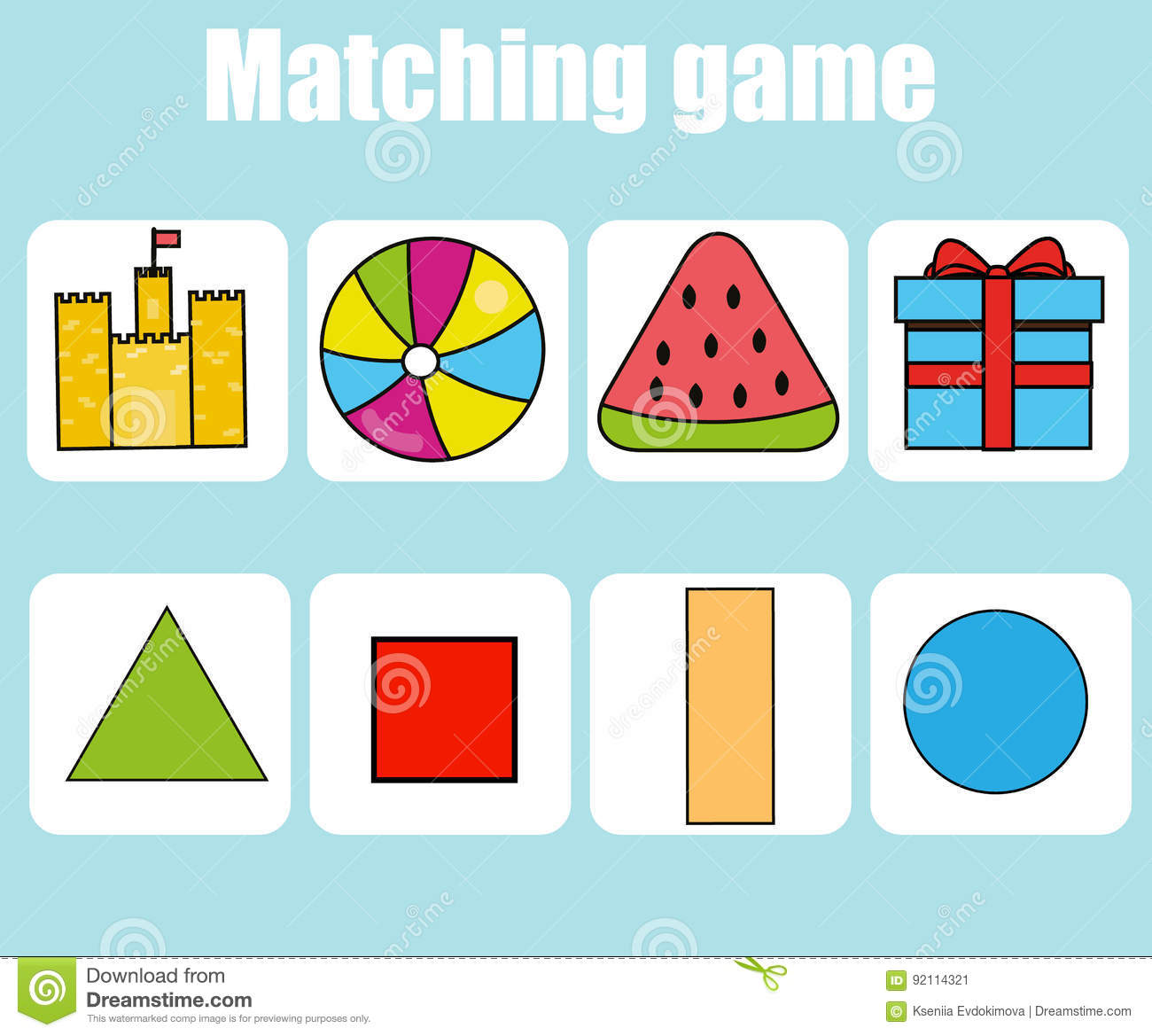 Educational Children Game Match By Shapes Kids Activity