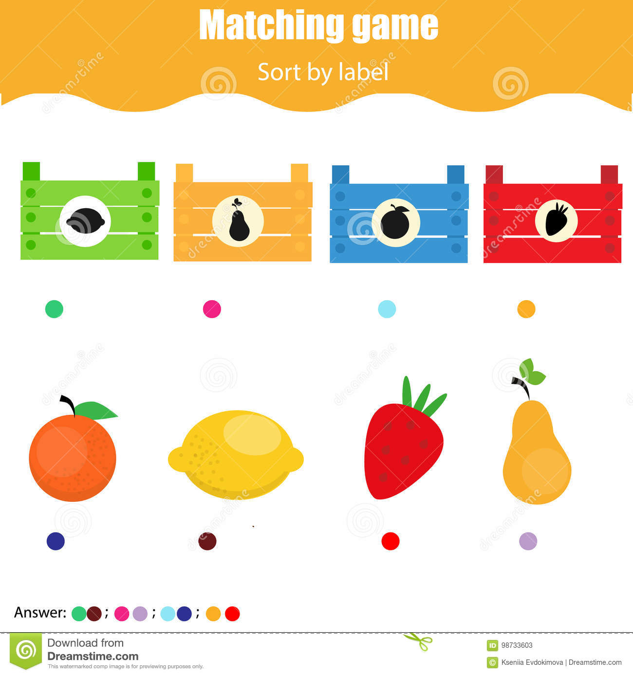 Color Sorting For Preschoolers Worksheet