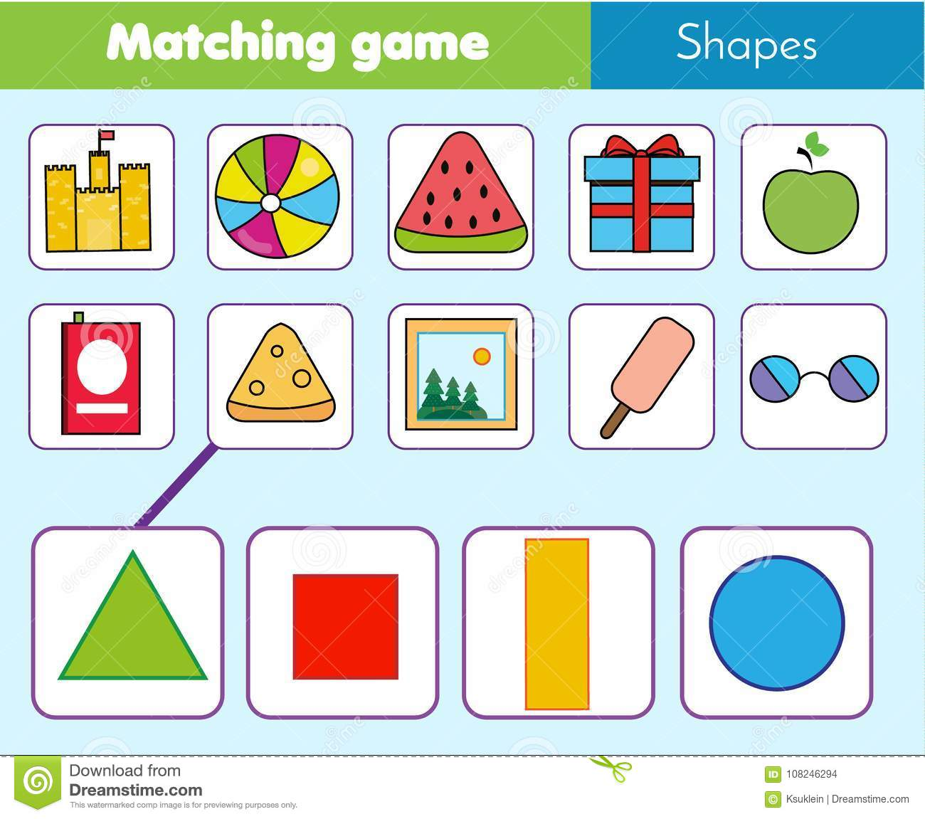 Educational Children Game Matching Game Worksheet For Kids Match By Shape Stock Vector