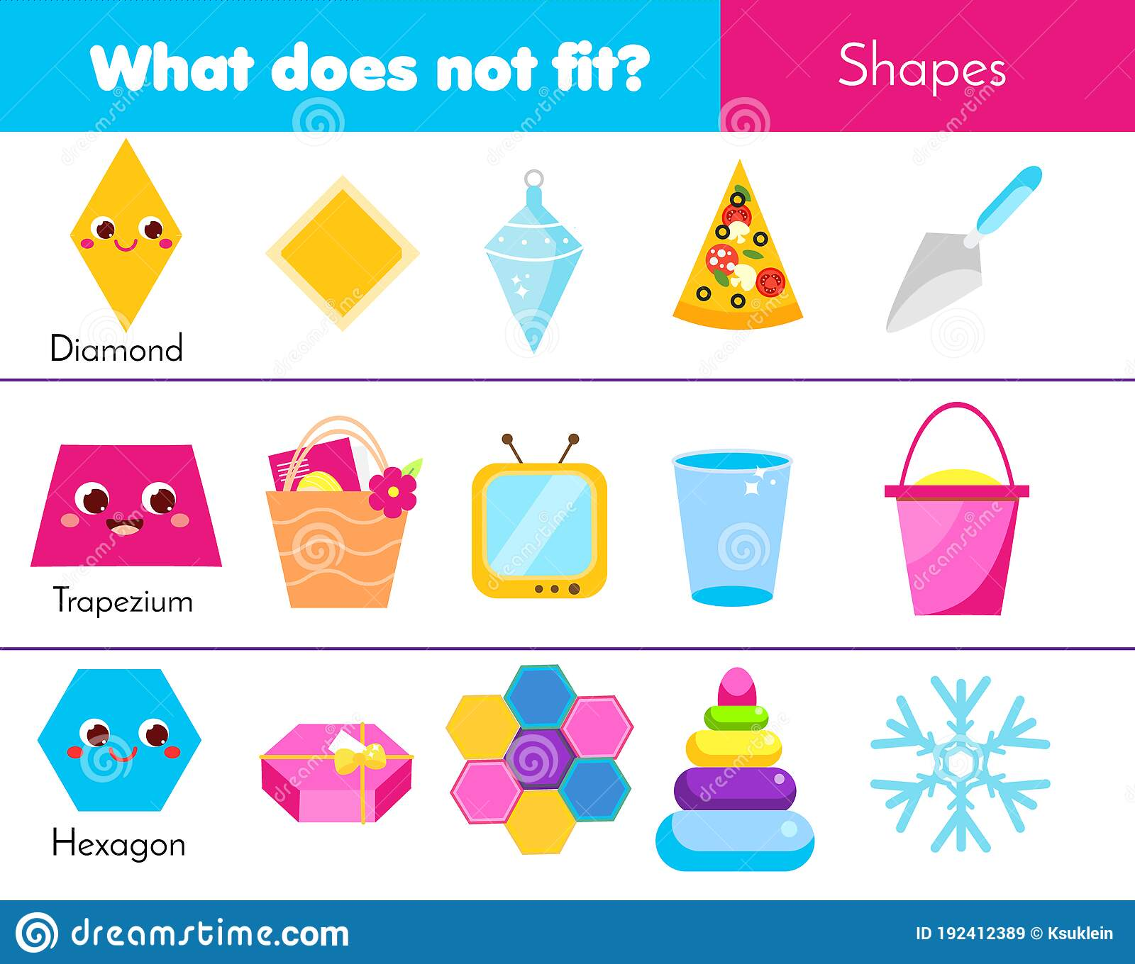 Educational Children Game What Does Not Fit Type