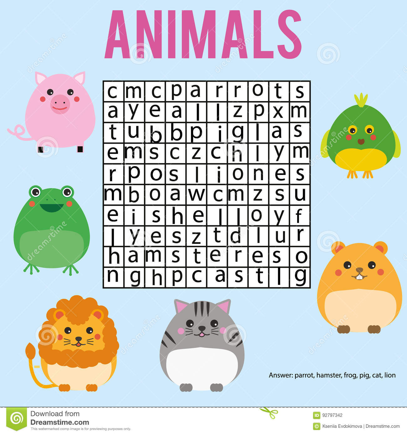 Educational Children Game Word Search Puzzle Kids Activity Animals Theme Learning Vocabulary
