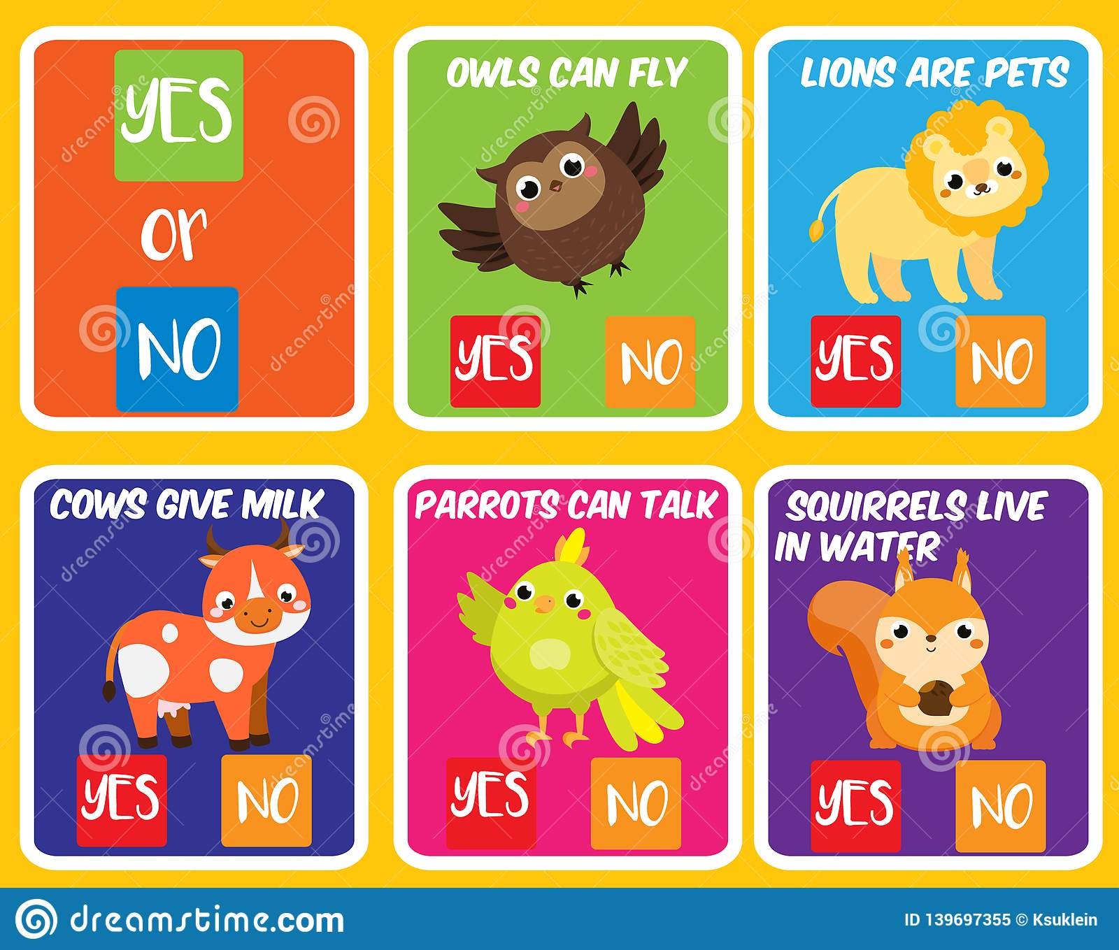 Educational Children Game Yes Or No Animals Theme Fun