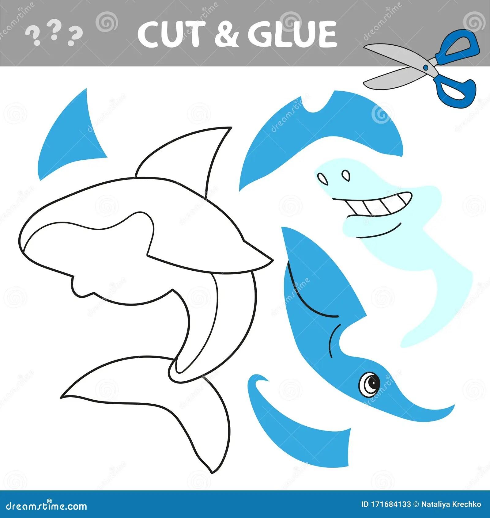 Educational Game For Children Cut And Glue Cartoon Shark
