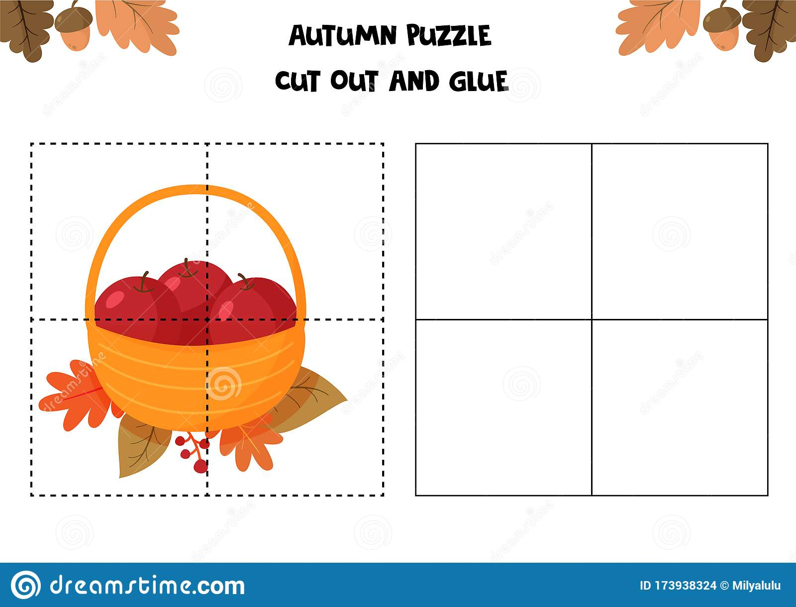 Educational Game For Children Autumn Worksheet Puzzle
