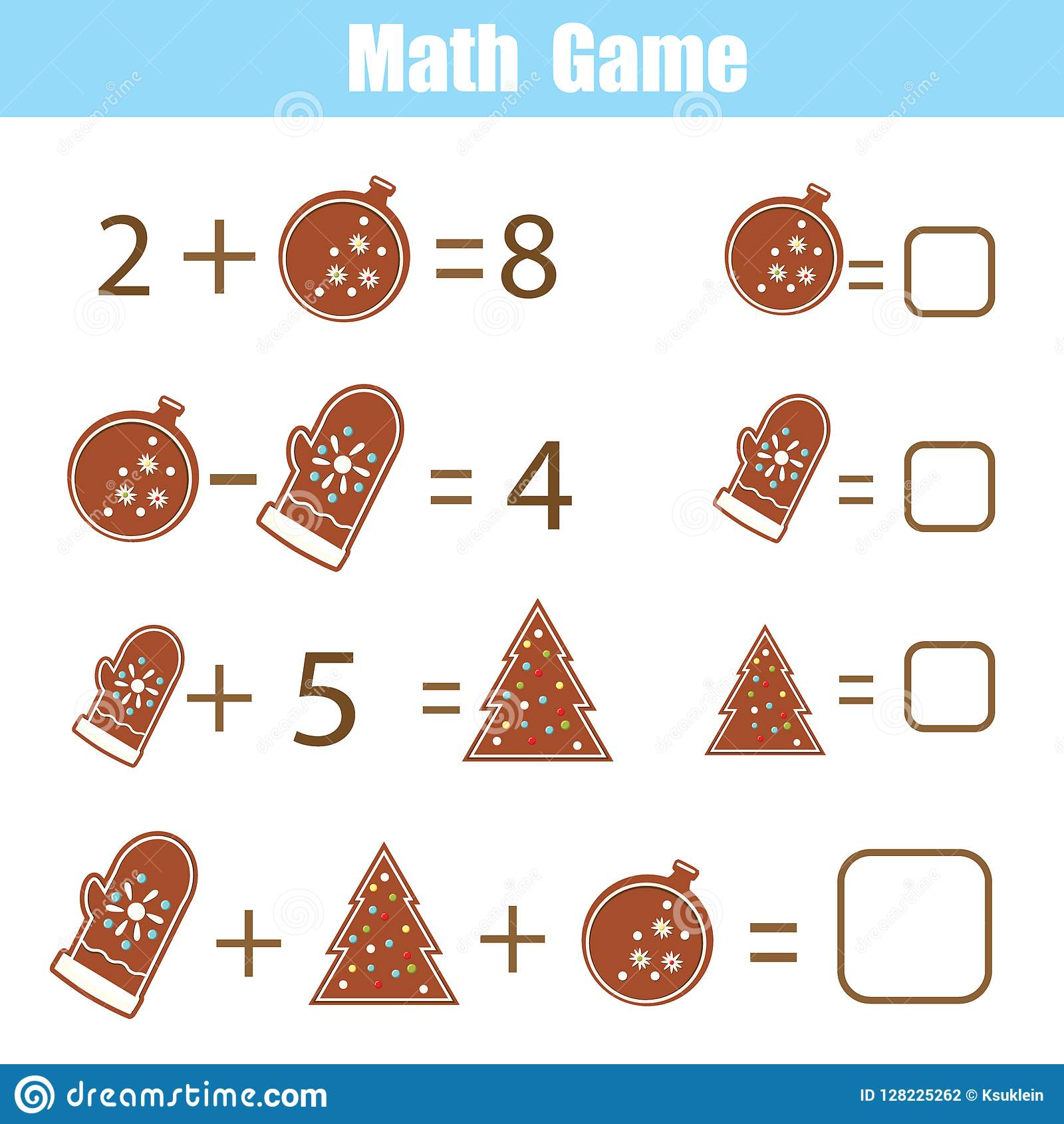 Educational Game For Children Solve Equations Study