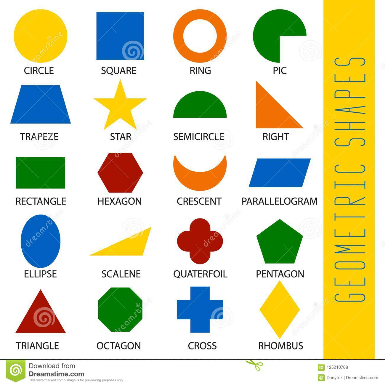 Educational Geometric Shapes Set Understanding Of