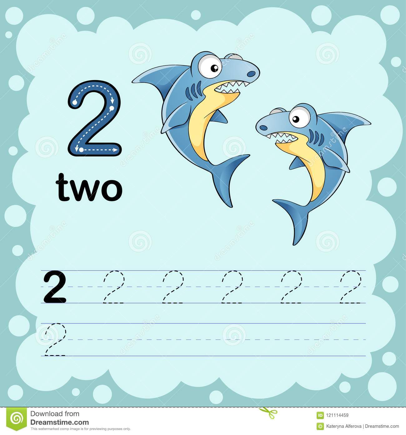 Educational Illustration To Learn How To Count And Write A Number Two Worksheet For