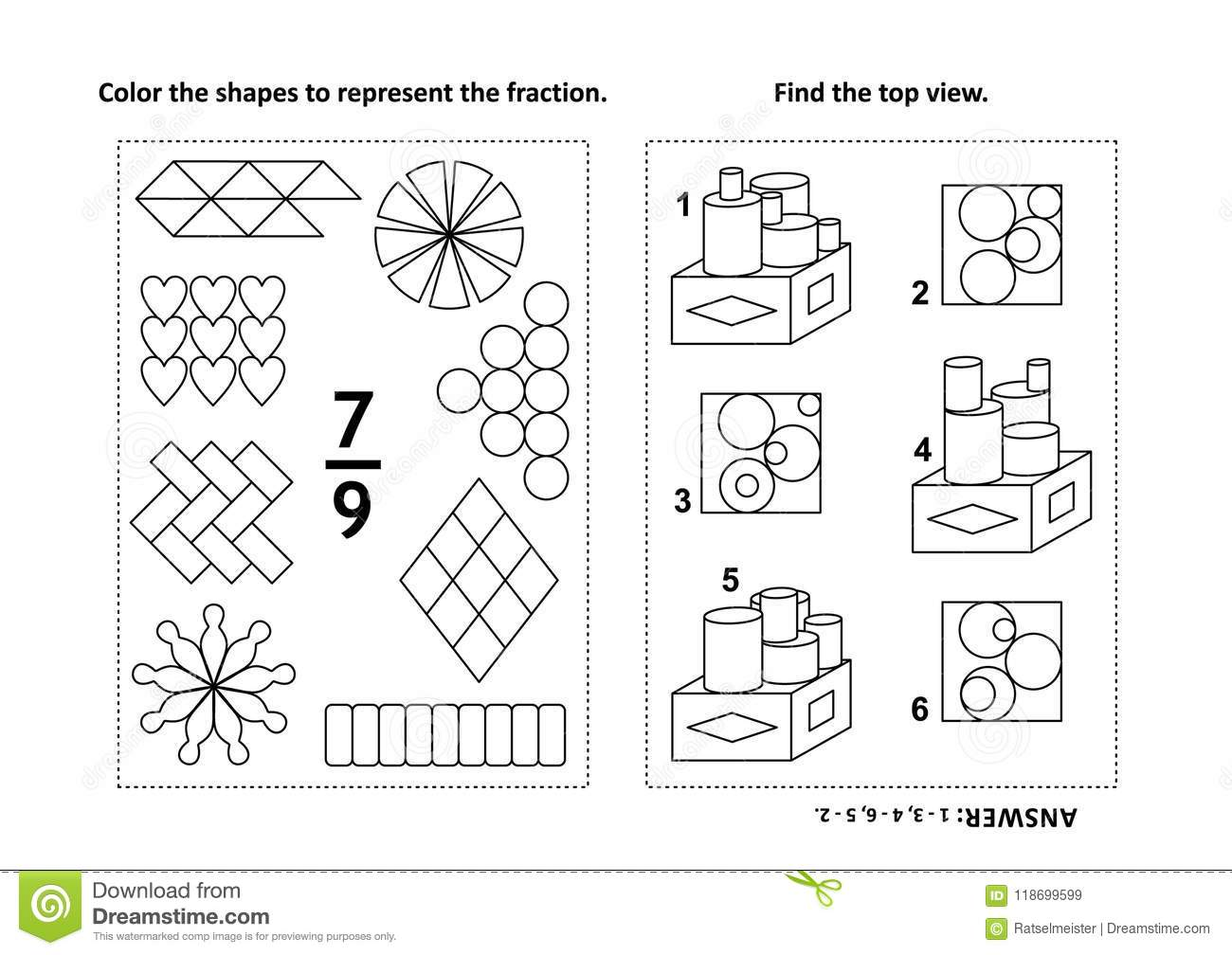 Educational Math Activity Page With Two Puzzles And