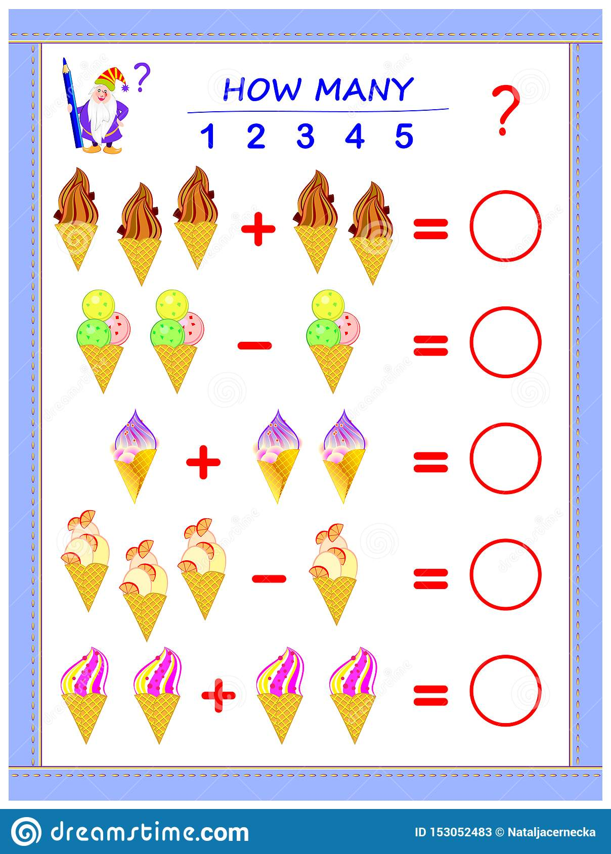 Educational Page For Children On Addition And Subtraction