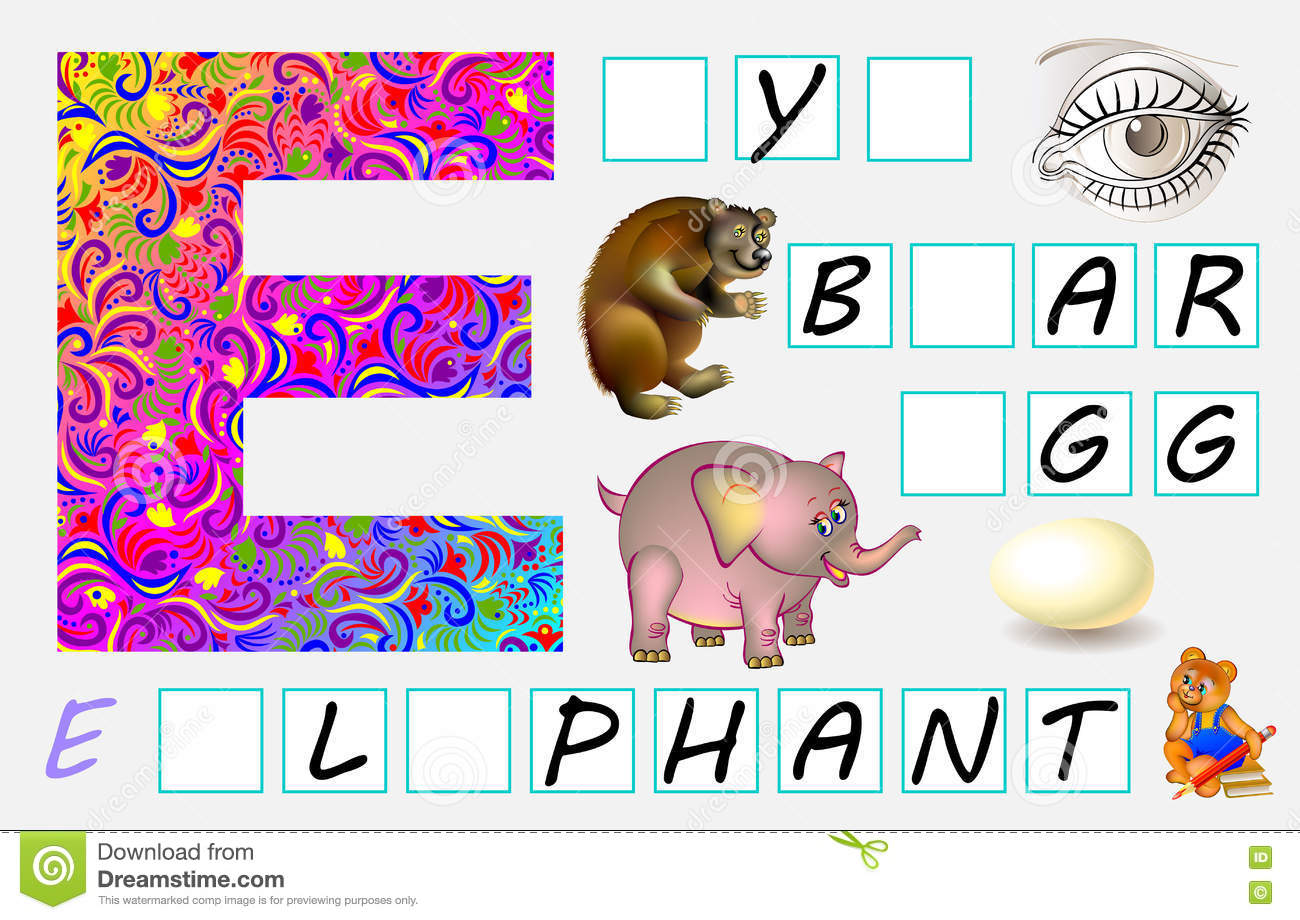 Educational Page For Children With Letter E For Study