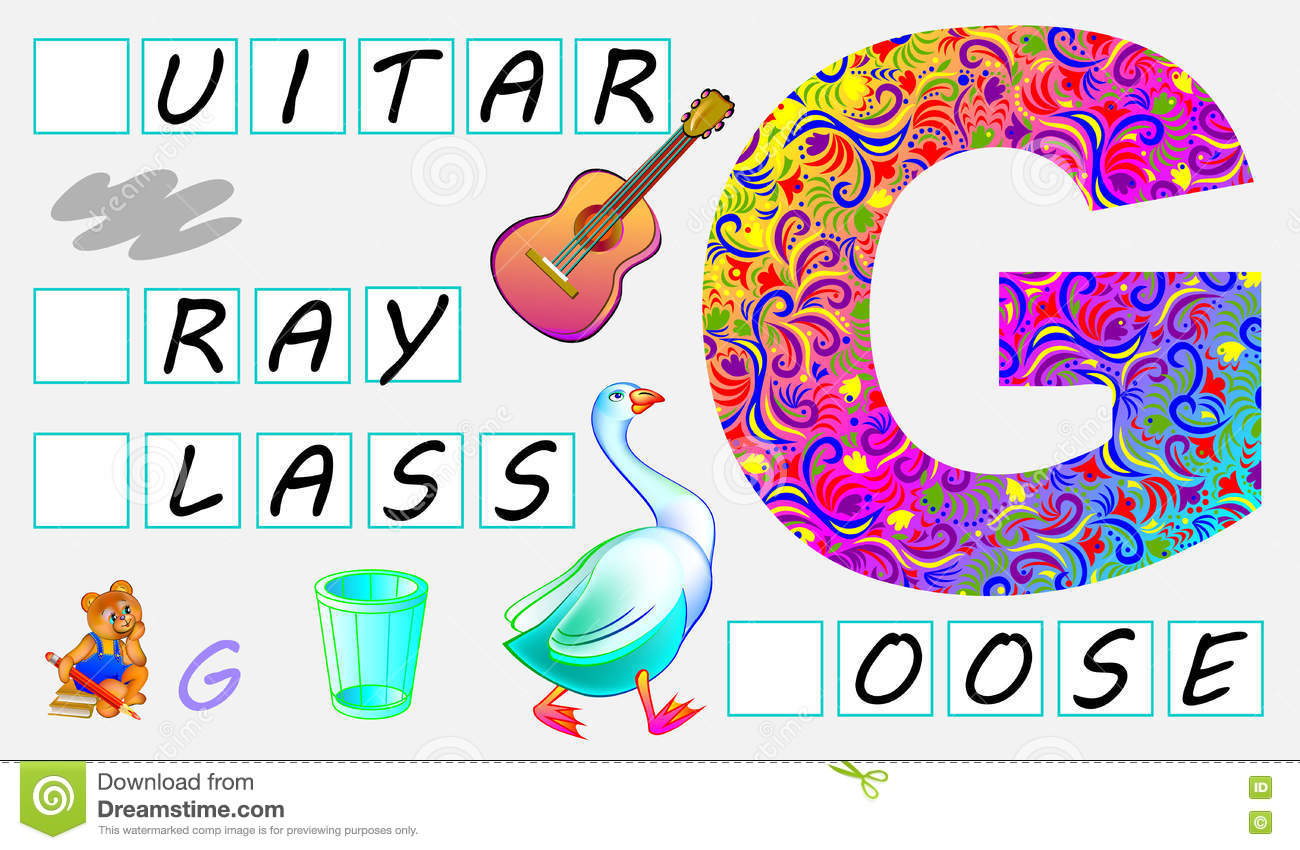 Educational Page For Children With Letter G For Study