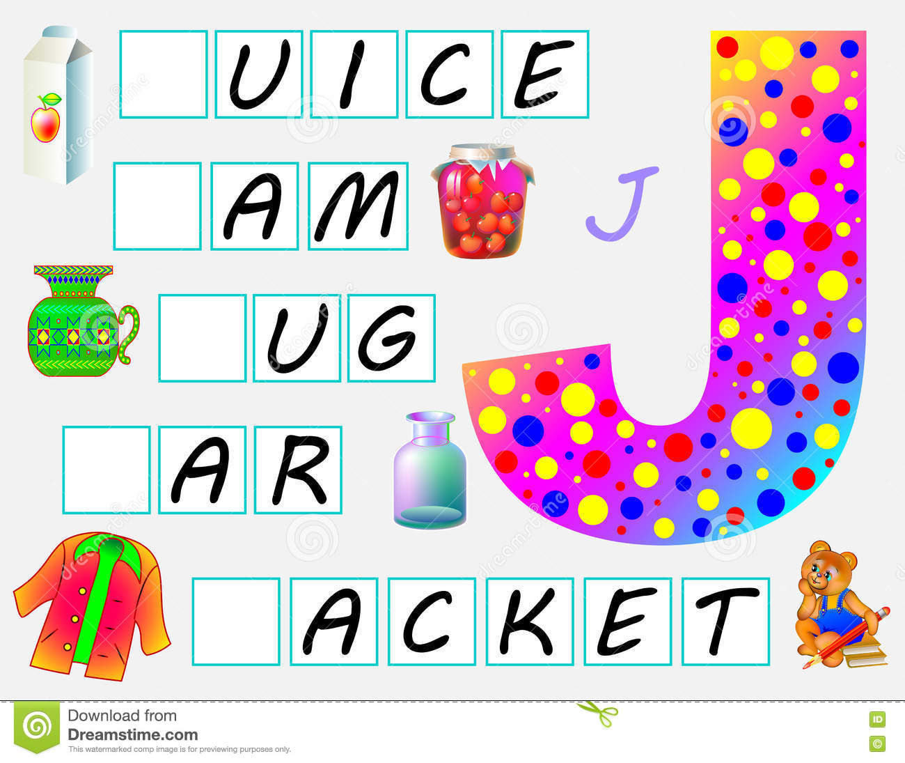 Educational Page For Children With Letter J For Study