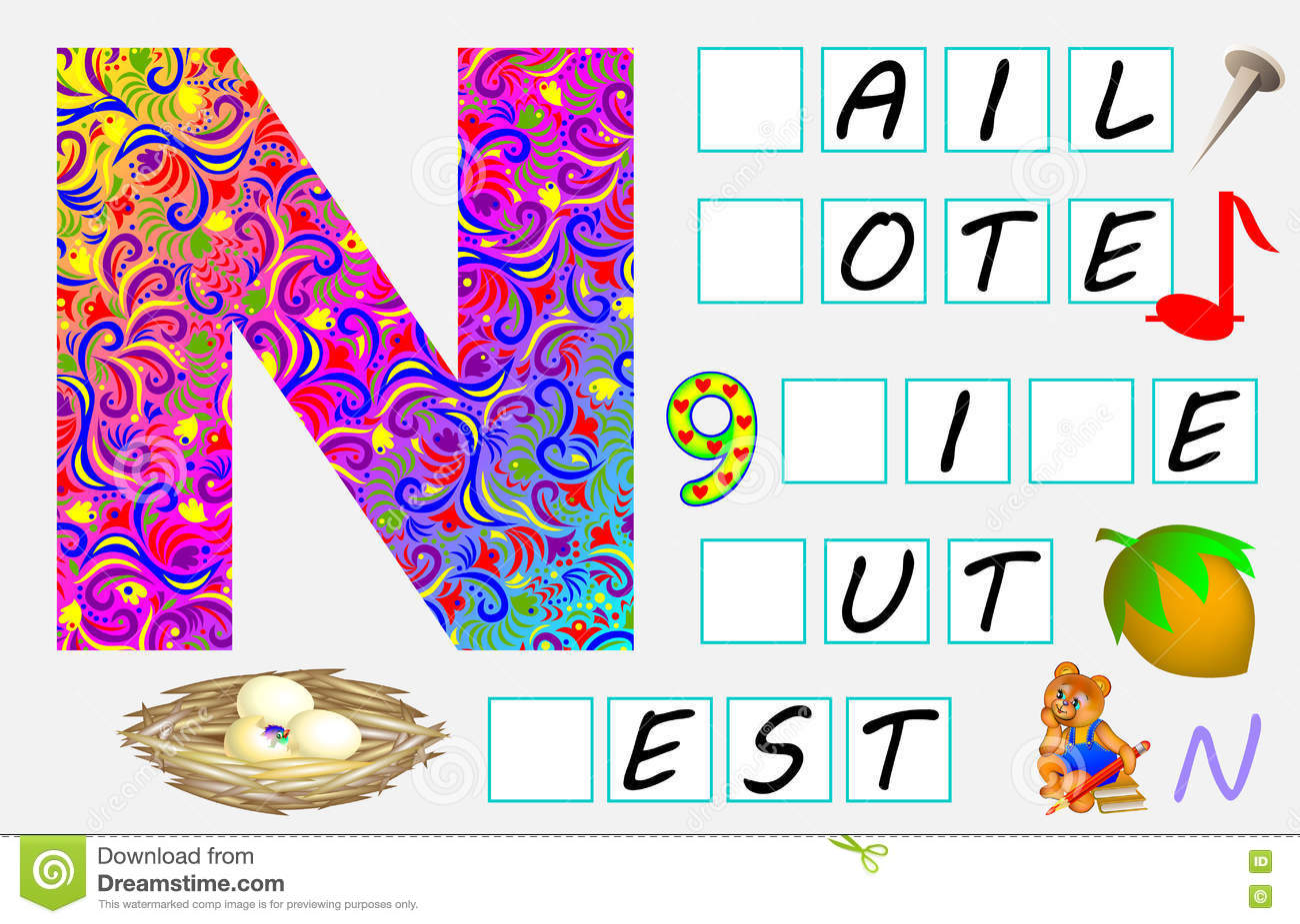 Educational Page For Children With Letter N For Study