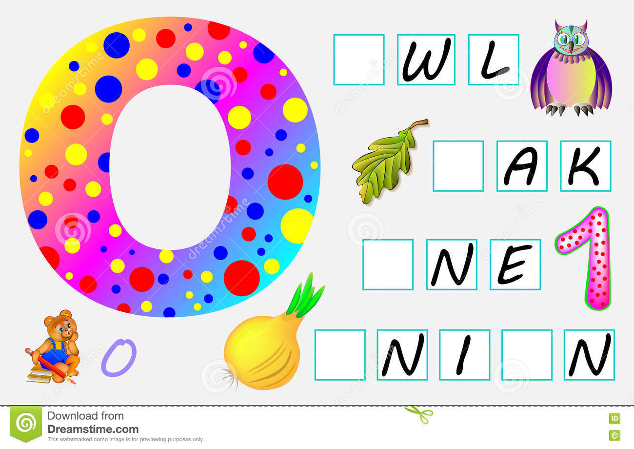 Educational Page For Children With Letter O For Study