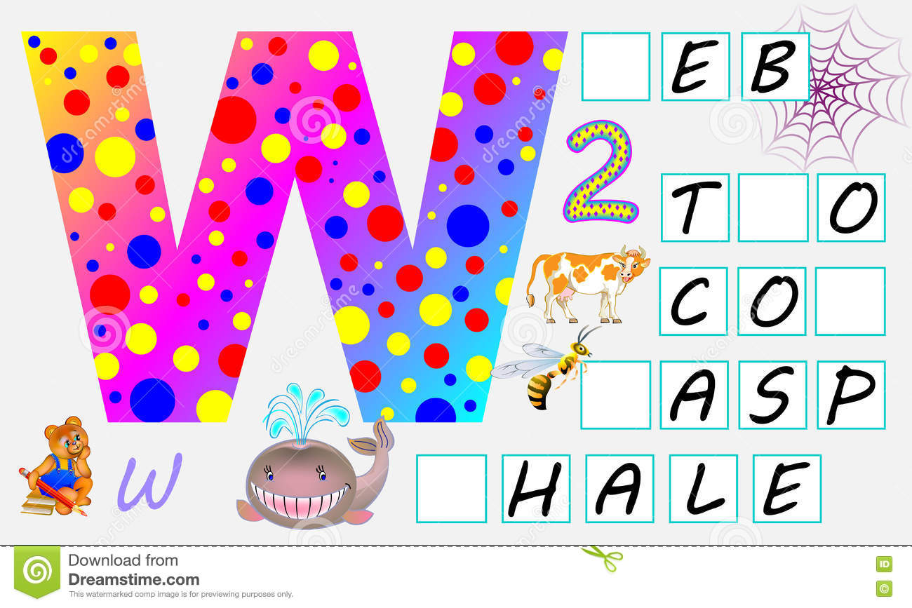 Educational Page For Children With Letter W For Study