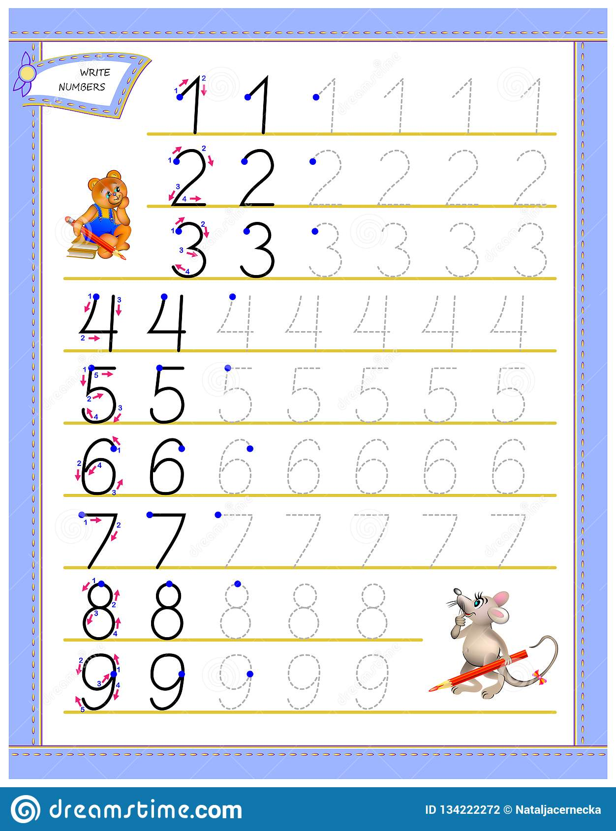 Educational Page For Children To Study Writing Numbers