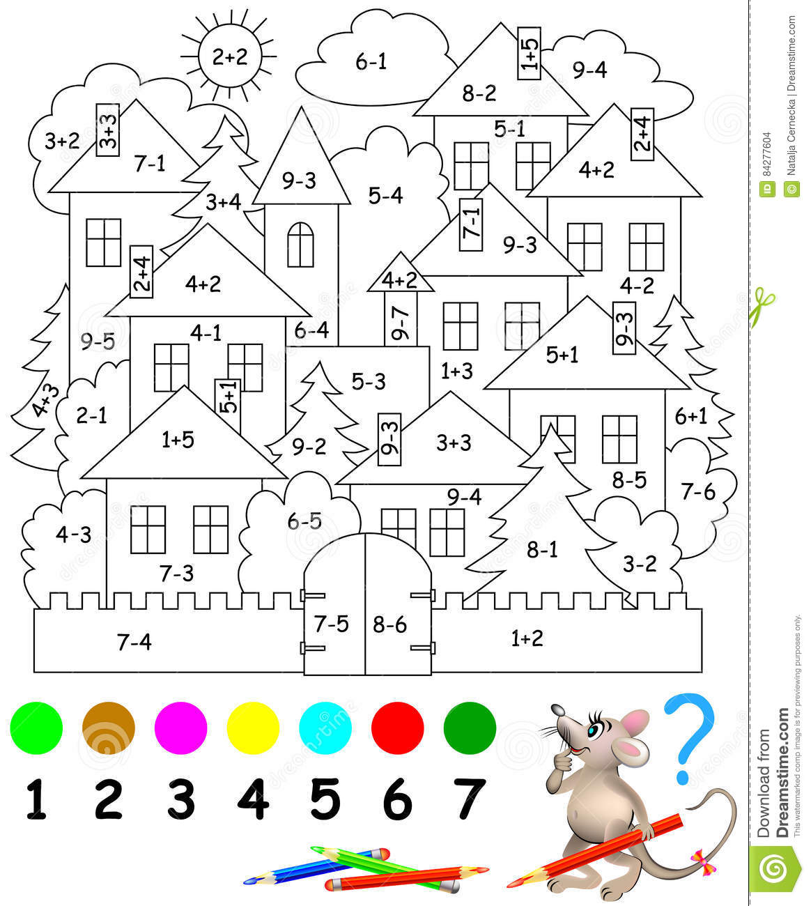 Educational Page With Exercises For Children On Addition And Subtraction Need To Solve Examples