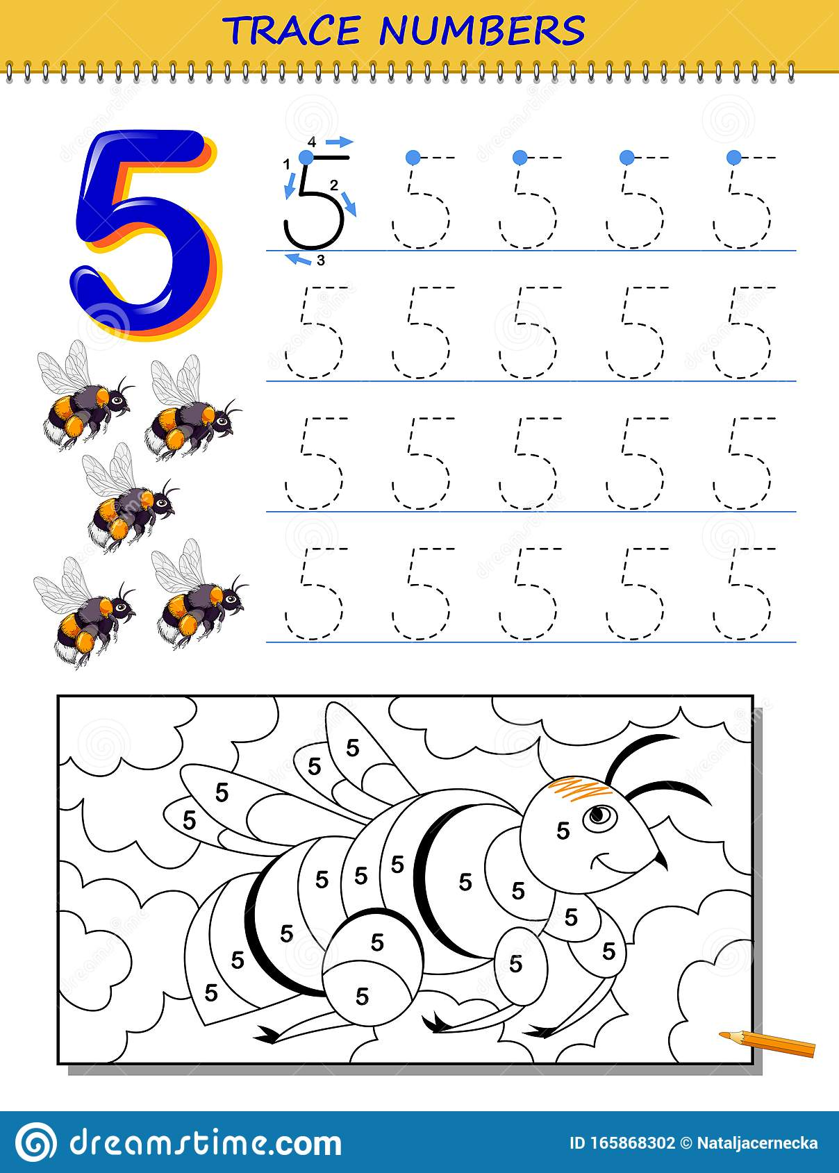 Educational Page For Kids With Number 5 Printable