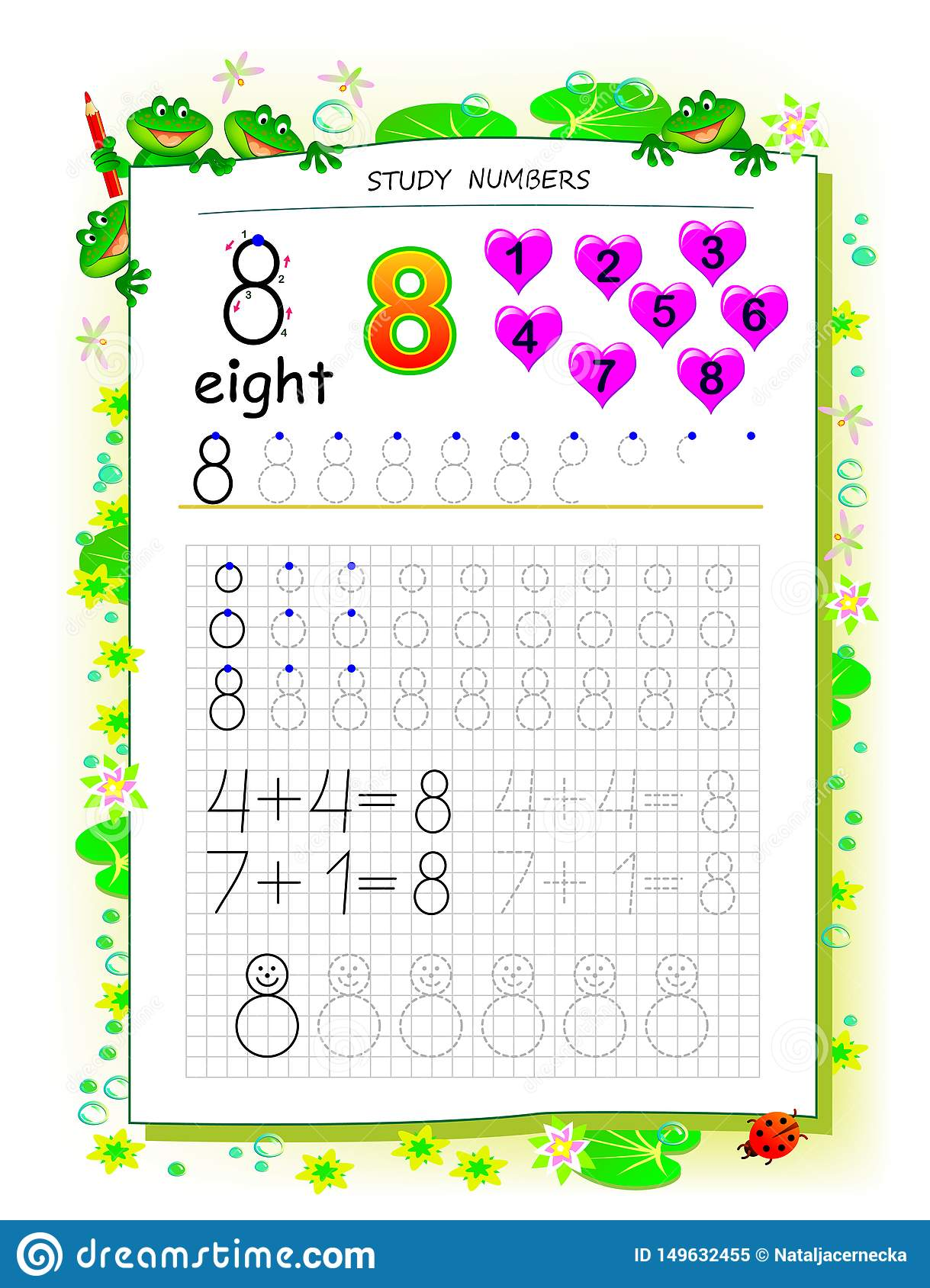 Educational Page On Square Paper For Kids With Number 8