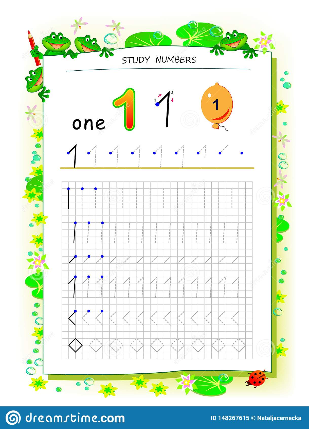 Educational Page On Square Paper For Kids With Number 1