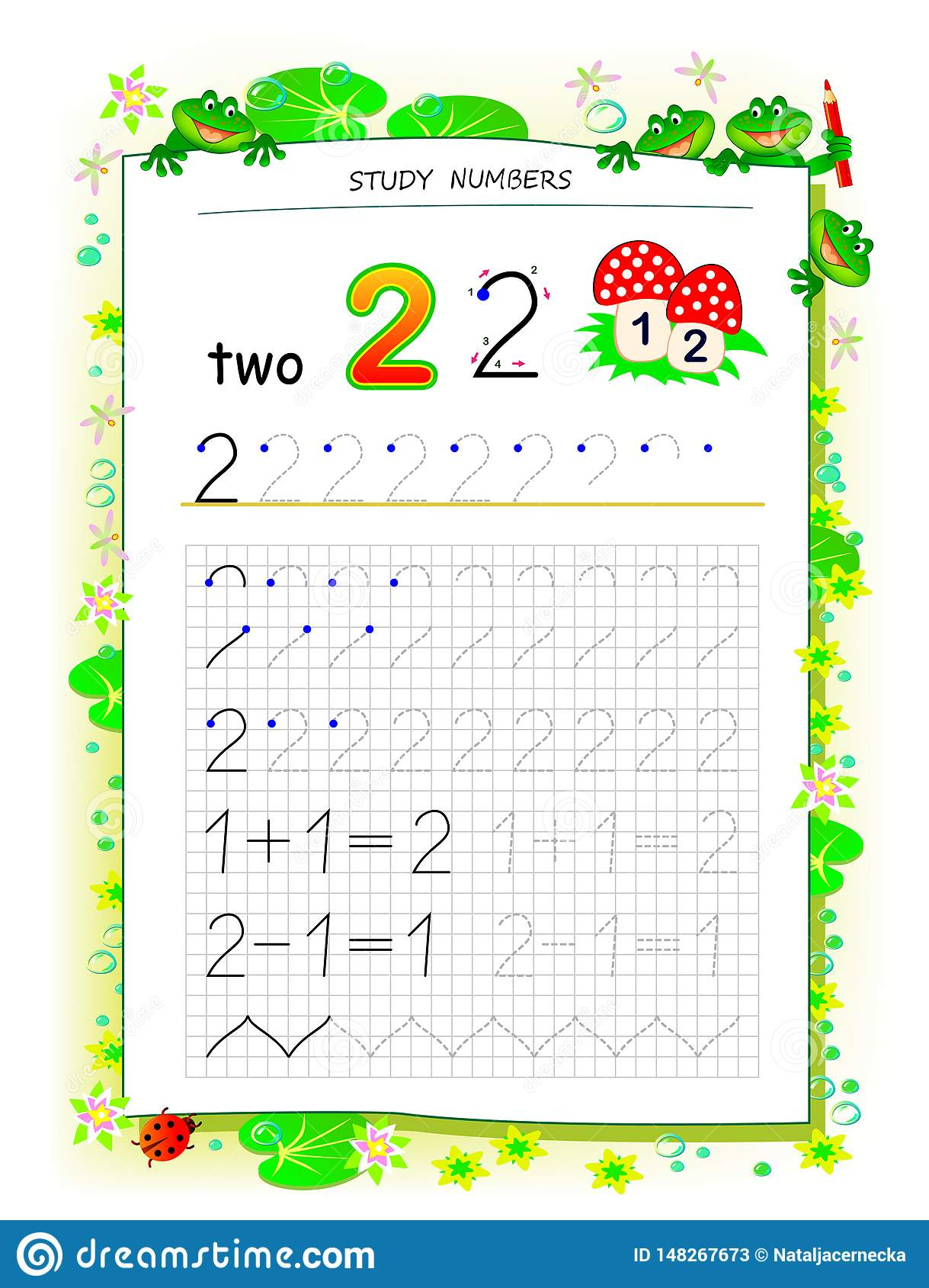 Educational Page On Square Paper For Kids With Number 2