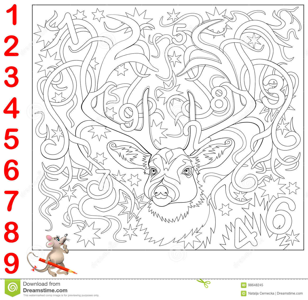 Educational Page For Young Children Find The Numbers