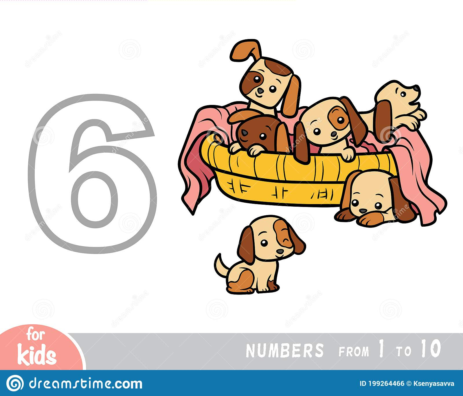 Educational Poster For Children About Numbers Digit Six