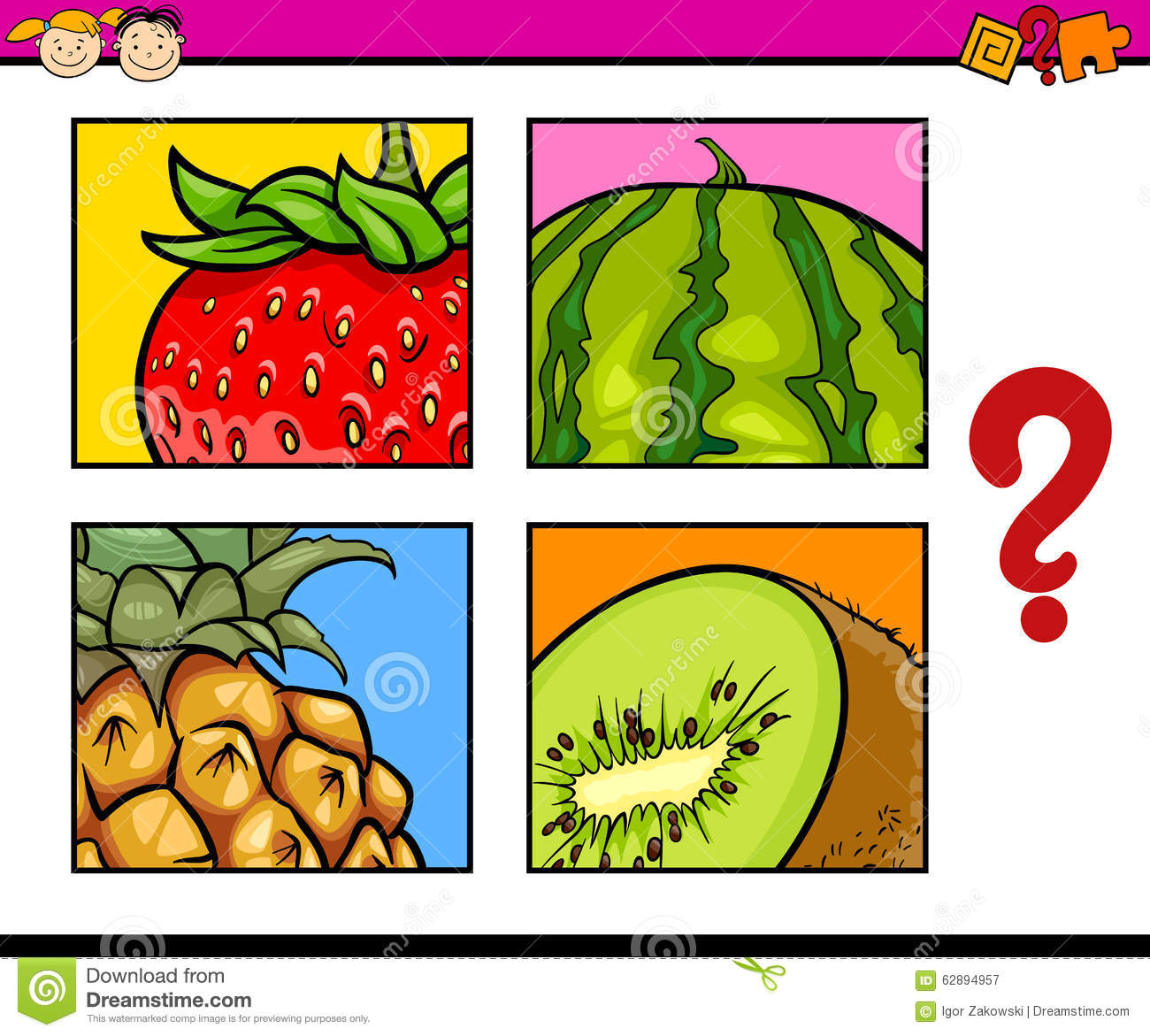 Educational Puzzle For Preschoolers Stock Vector