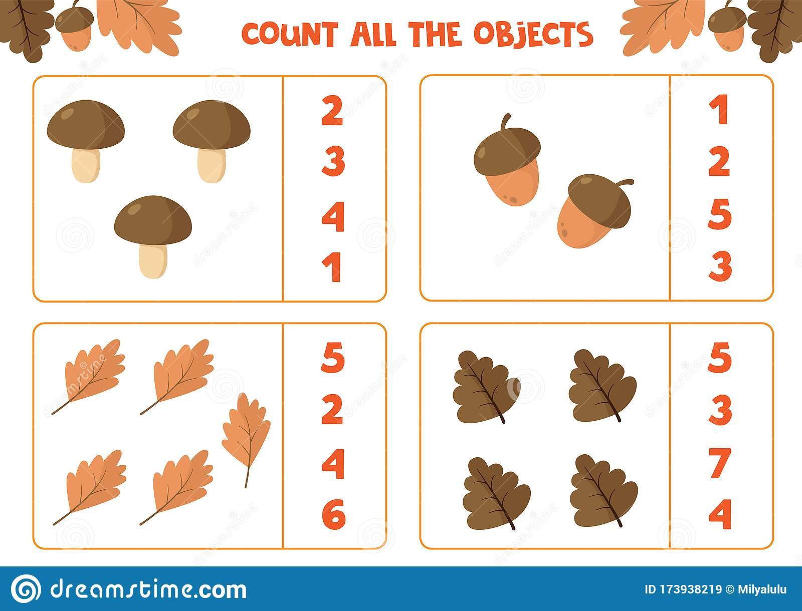 Educational Worksheet For Children Count All The Objects