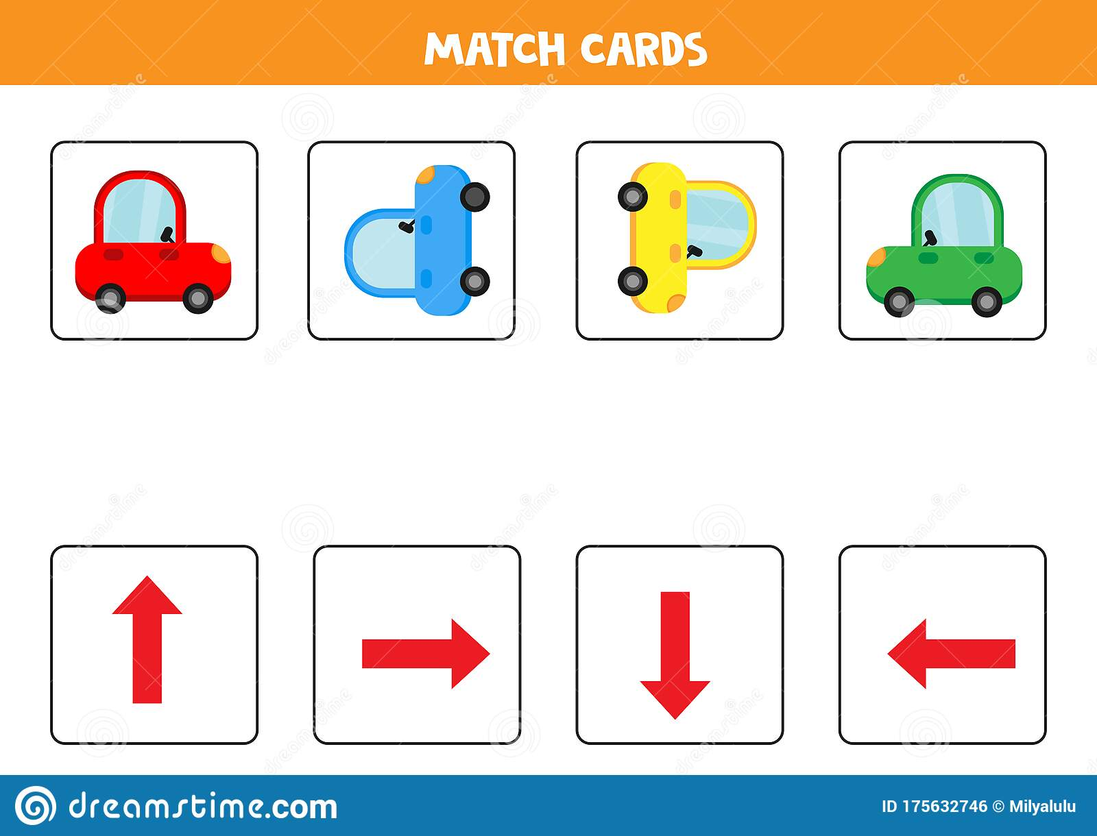 Match Cards Fish Set Spatial Orientation For Kids Stock