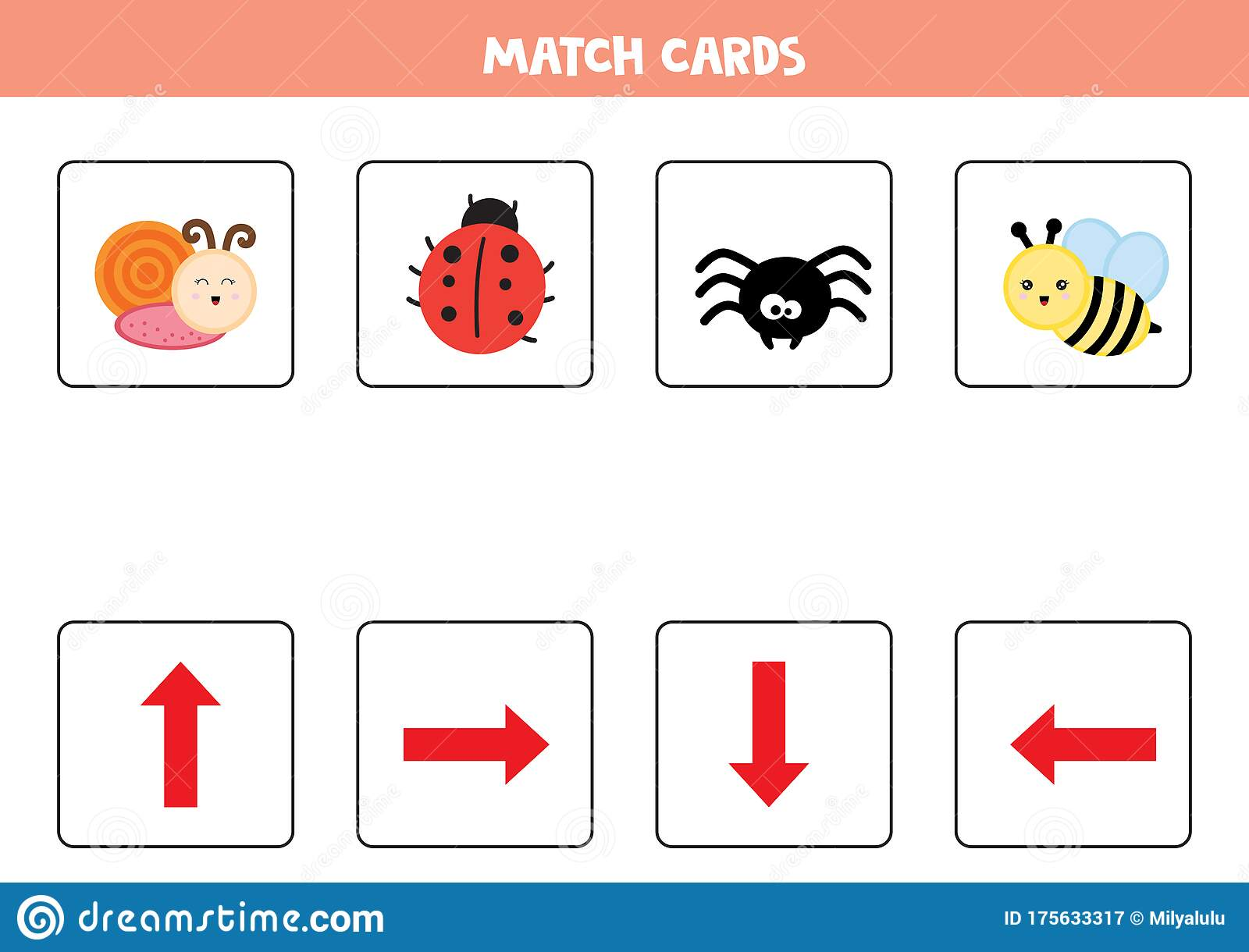 Educational Worksheet For Preschool Kids Match Cards