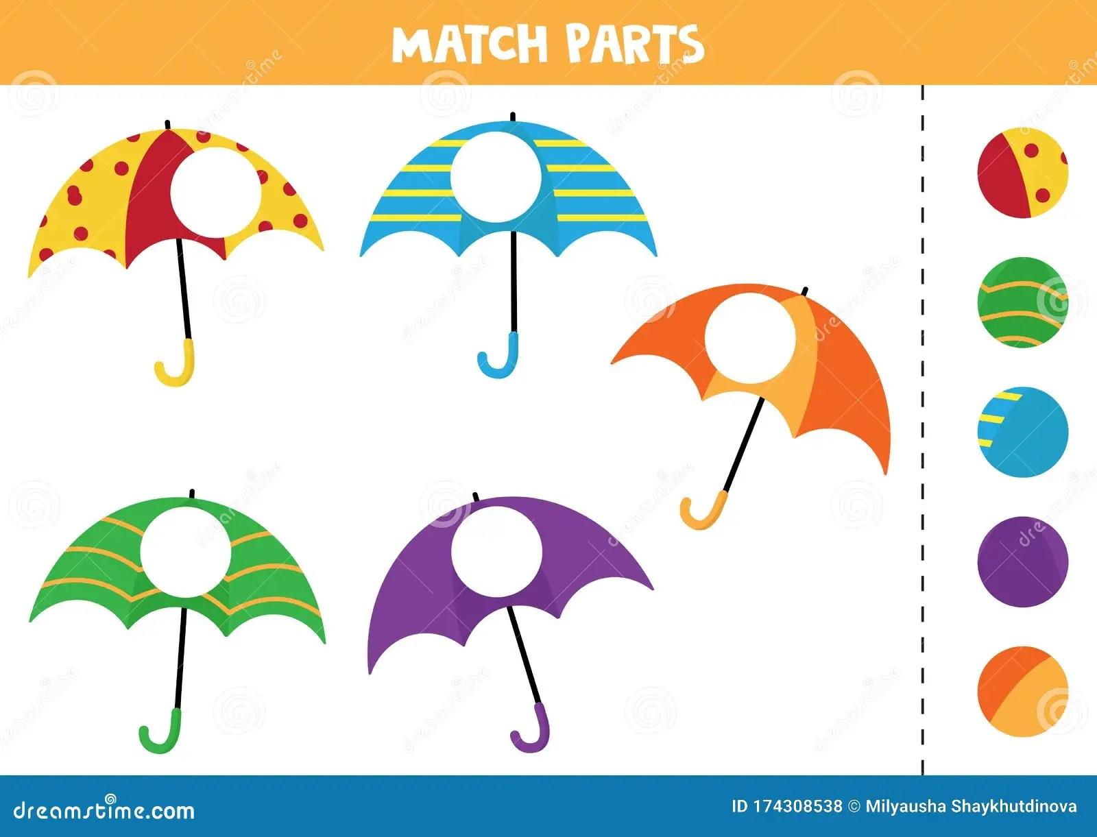 Educational Worksheet For Preschool Kids Match Parts Of