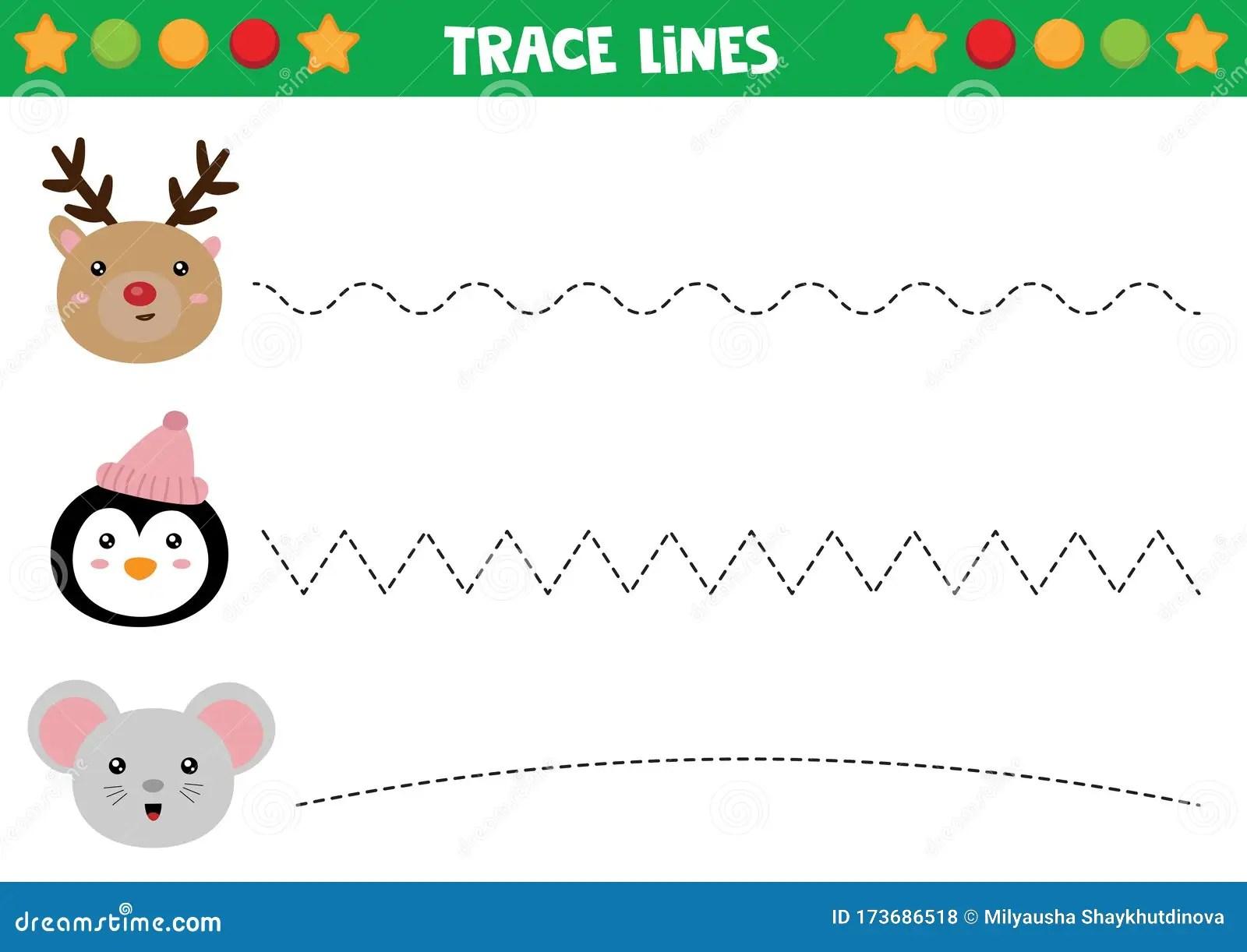 Educational Worksheet For Preschool Kids Tracing Lines