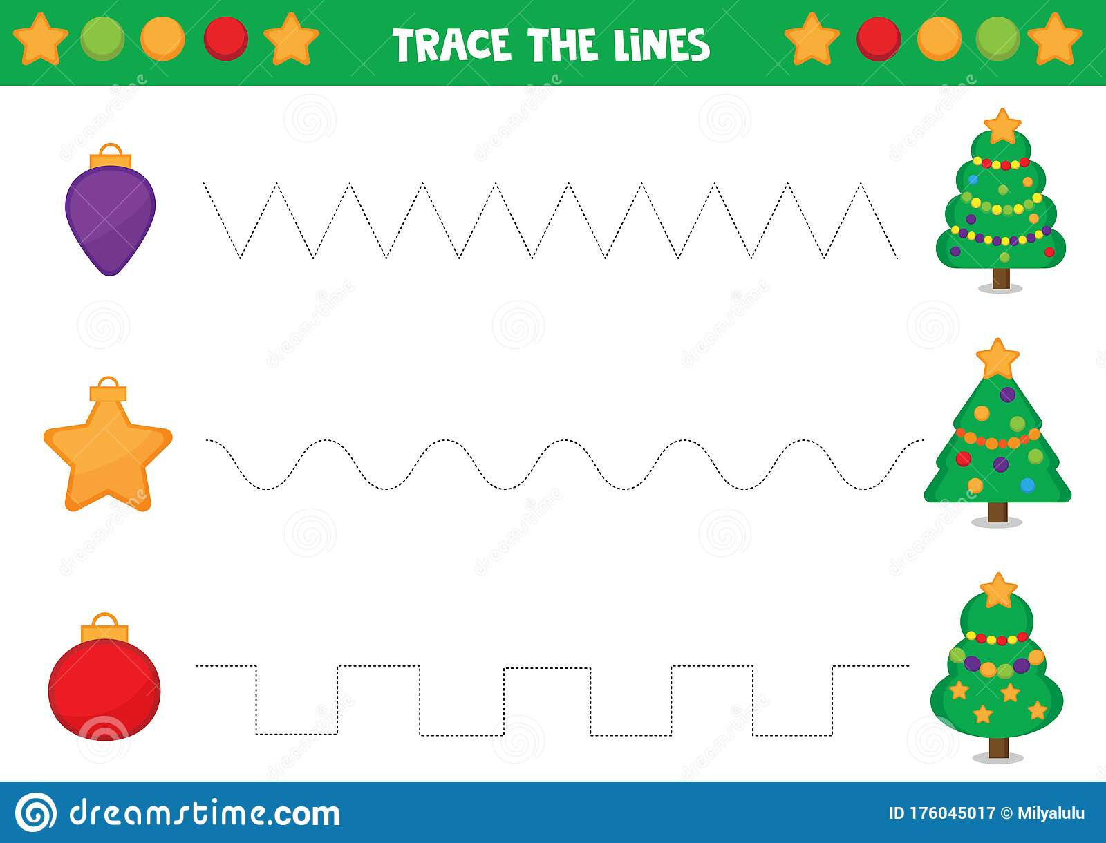Educational Worksheet For Preschool Kids Tracing Lines