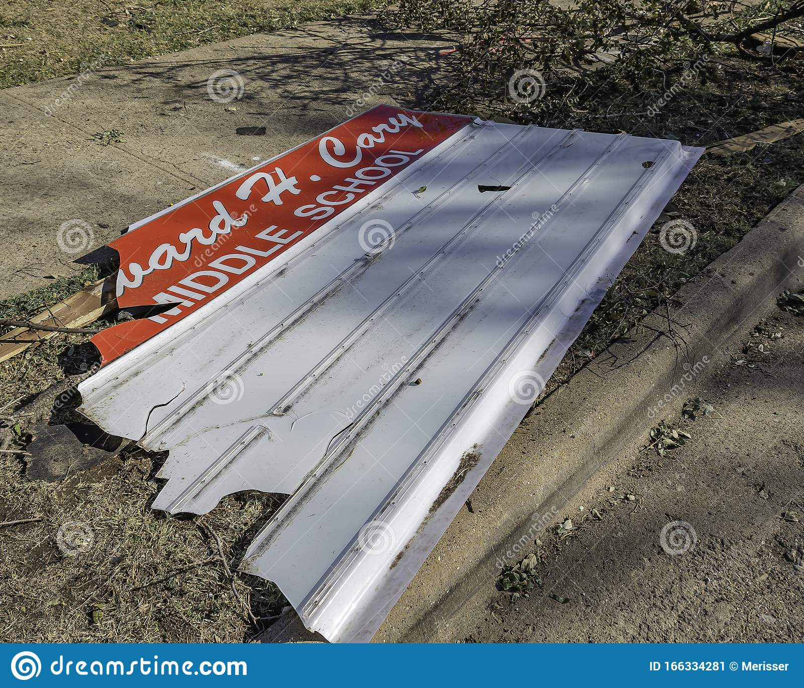 Edward H Cary Middle School Sign After Tornado Editorial