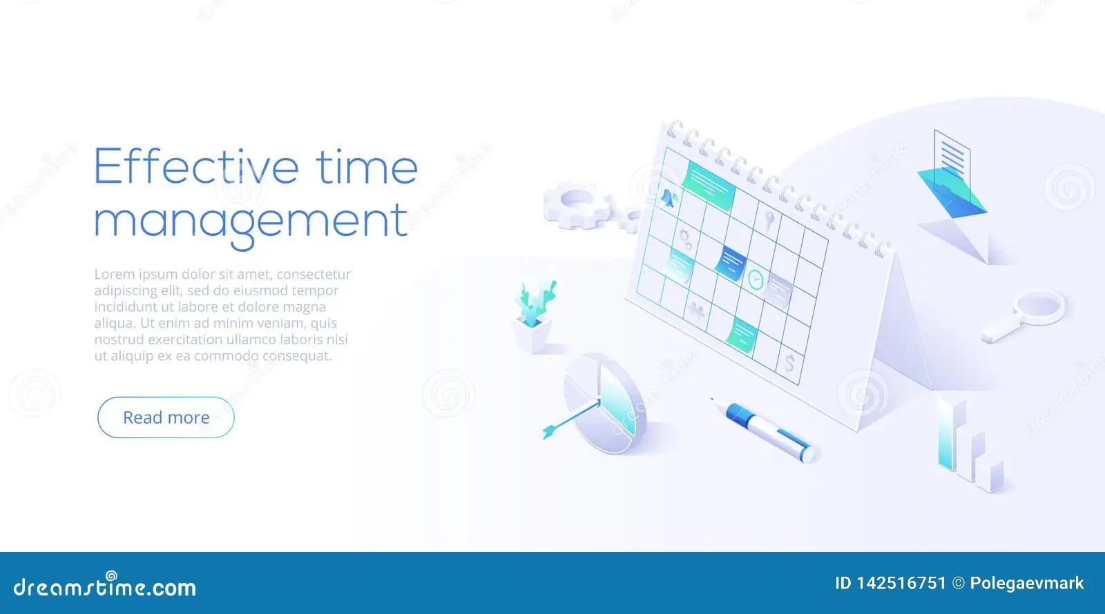 Effective Time Management Isometric Vector Illustration