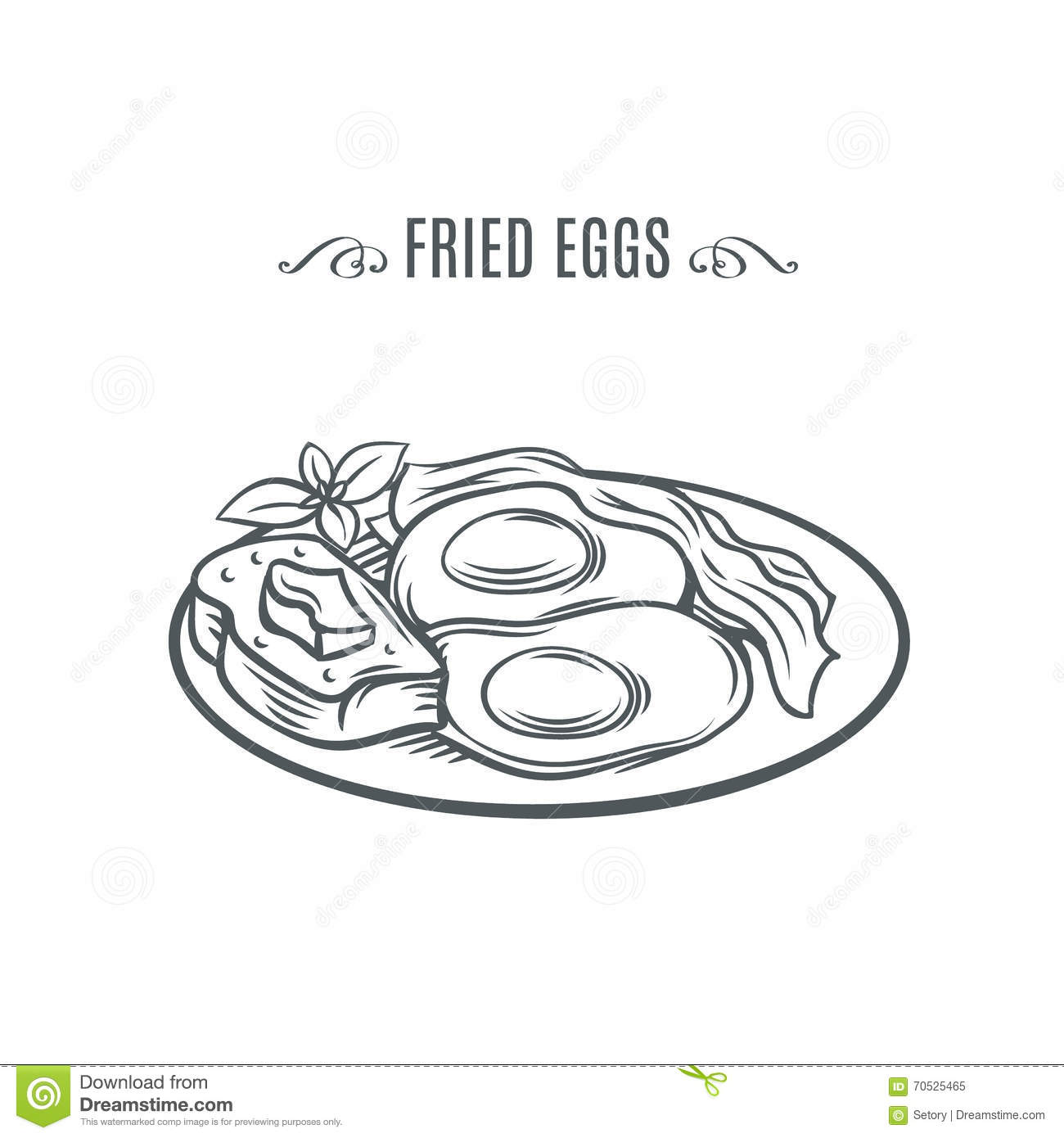 Eggs With Bacon And A Slice Of Bread Stock Vector