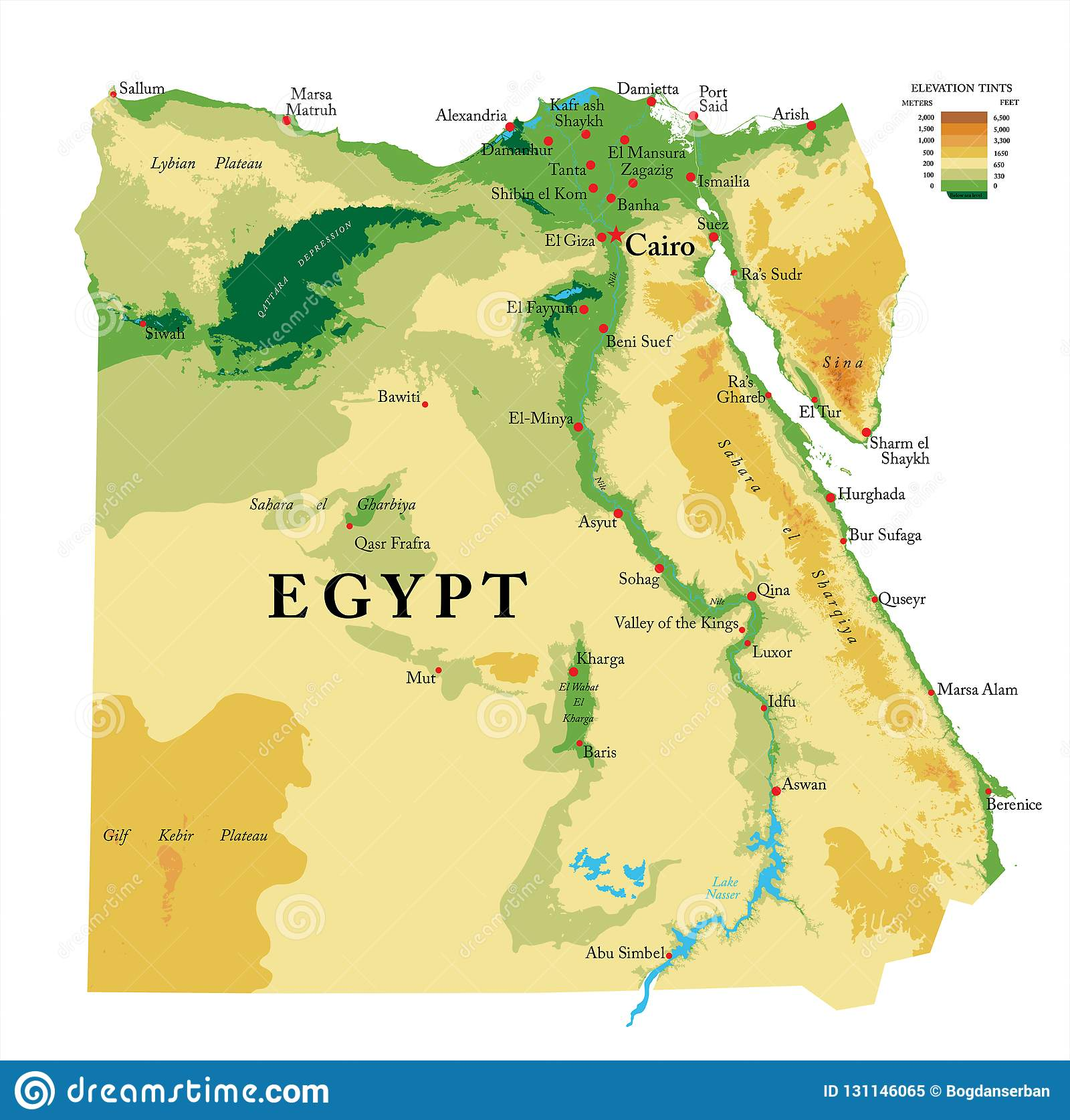 Egypt Physical Map Stock Vector Illustration Of Africa