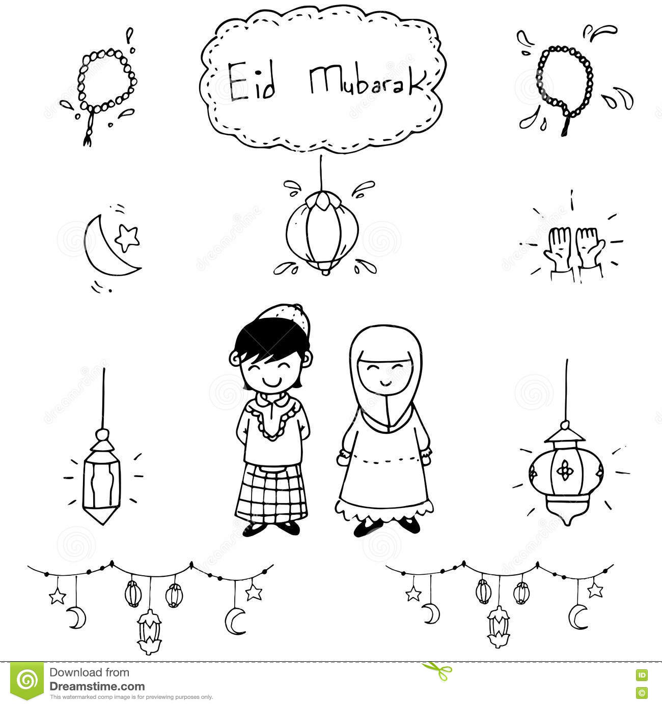 Eid Mubarak Doodle With Hand Draw Stock Vector