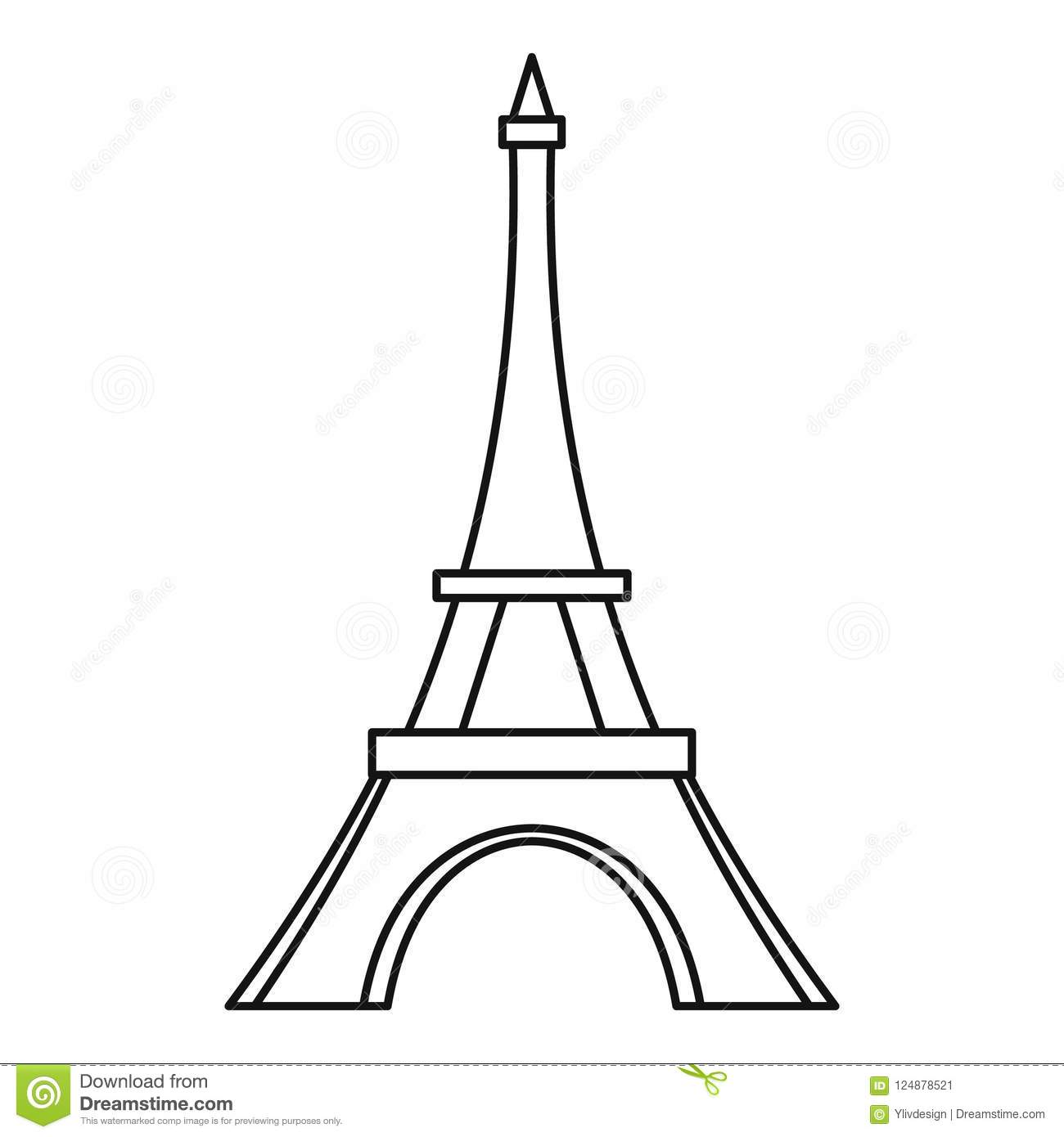 Eiffel Tower Icon Outline Style Stock Illustration
