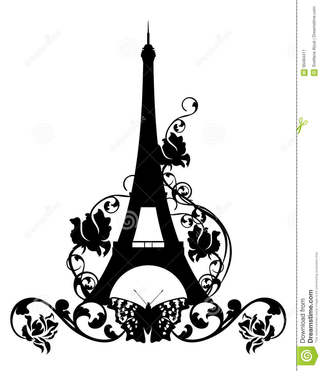 Eiffel Tower Among Rose Flowers And Butterflies Stock