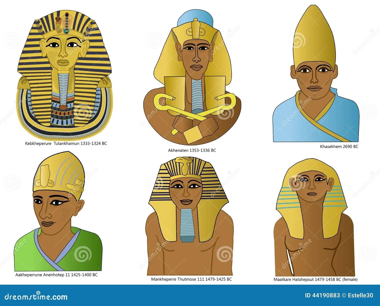 Ein Satz Alte Agyptische Pharaos Stock Abbildung