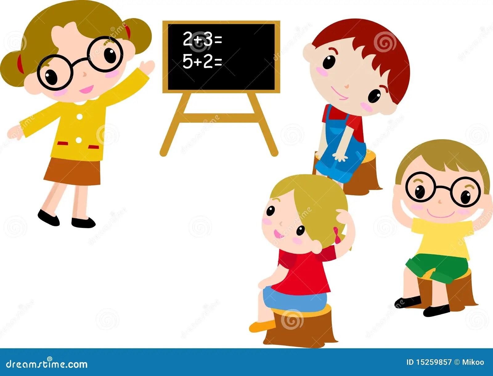 Eine Gruppe Schulekinder Von Mathe Vektor Abbildung