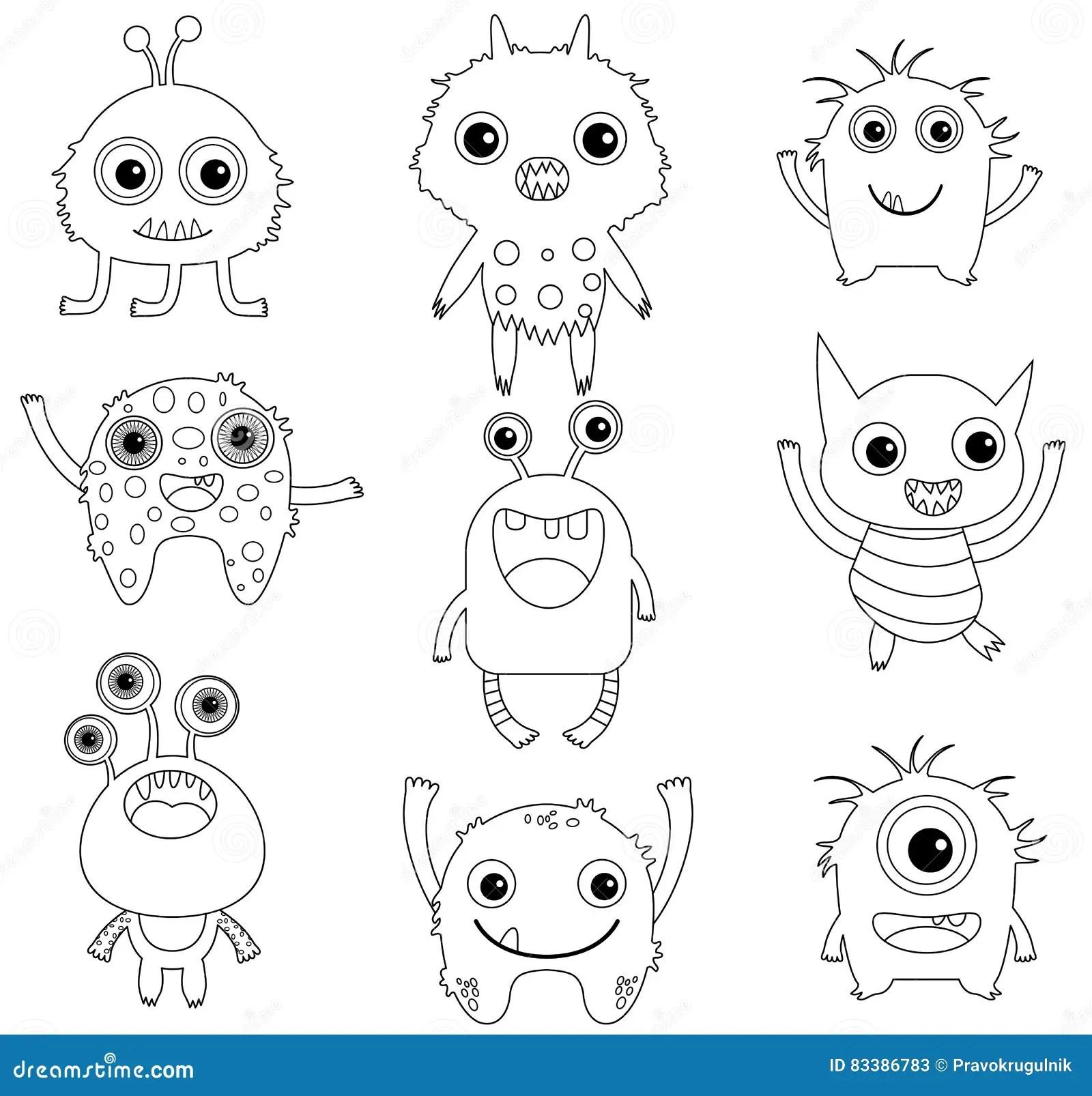 Eine Sammlung Lustige Und Nette Monster Vektor Abbildung