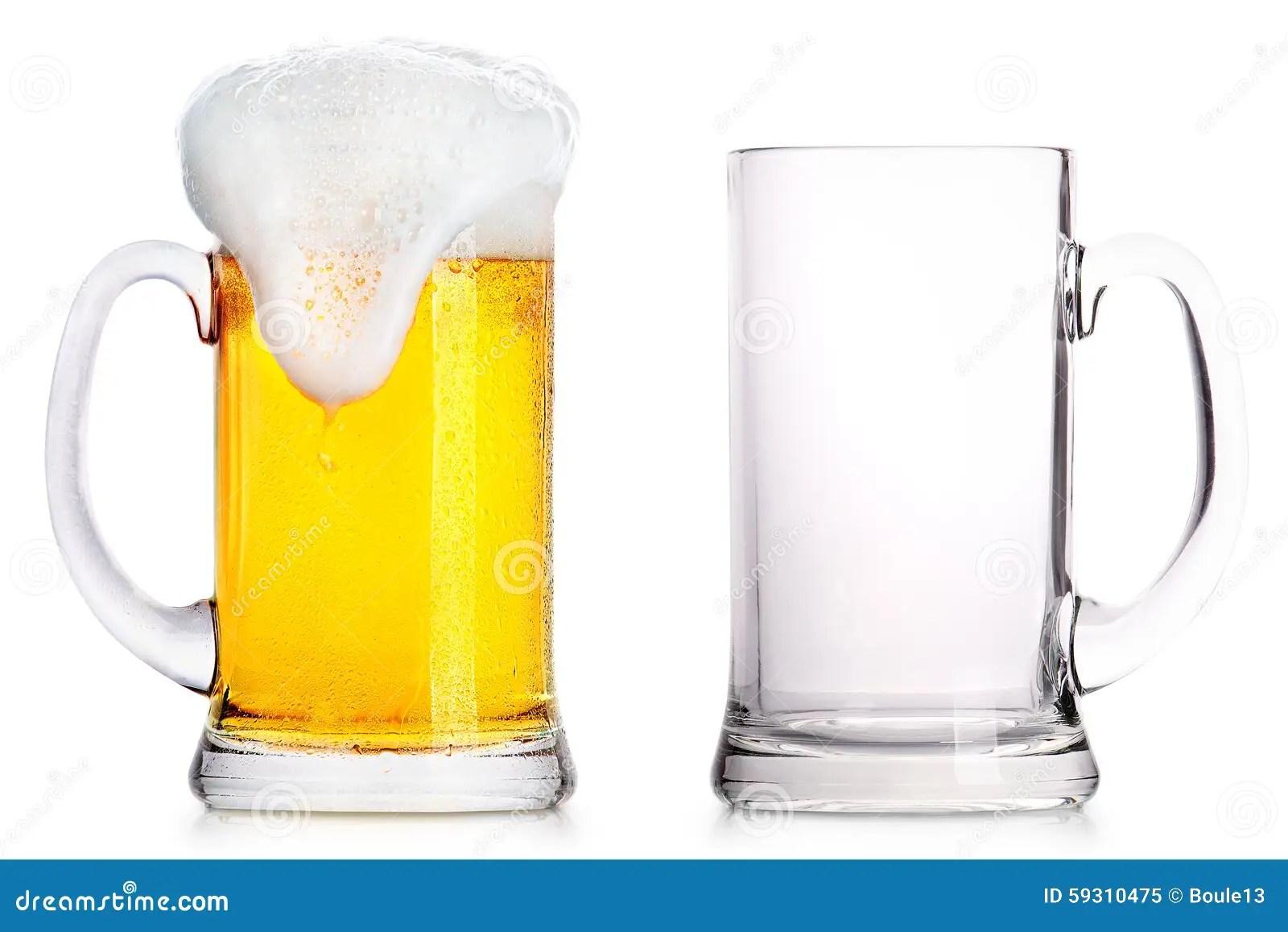 Eisiges Glas Helles Bier Und Leeren Ein Stockbild