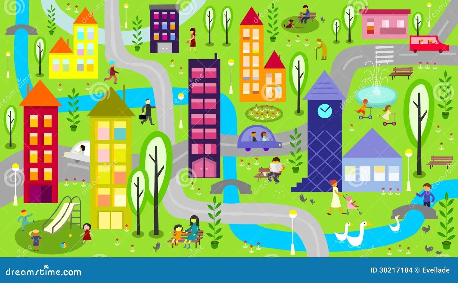 Ciudad Colorida Con El Rio Y Los Caminos Ilustracion Del
