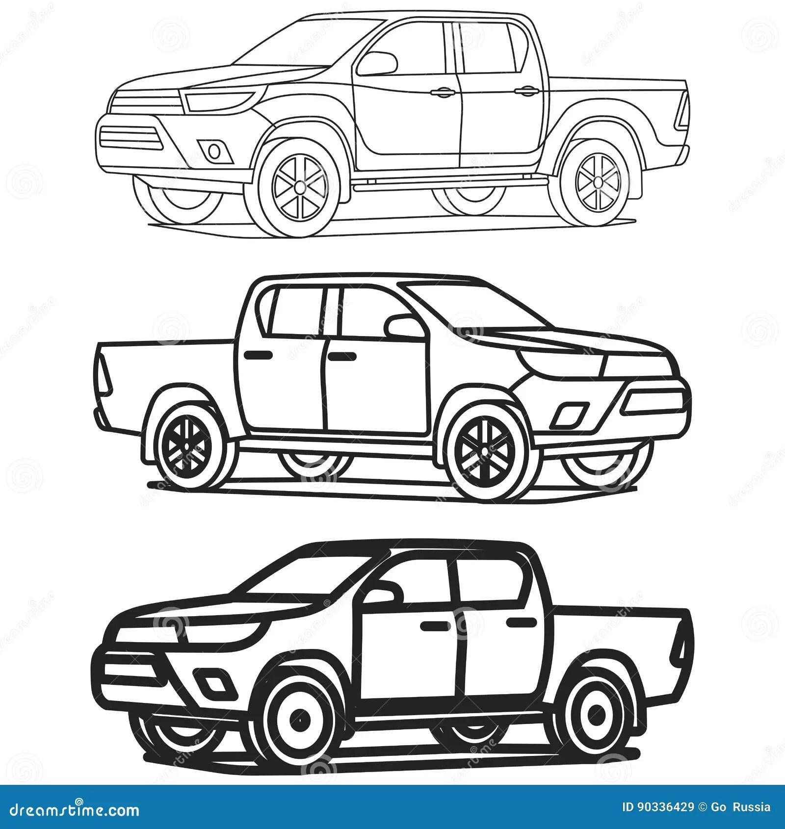 El Esquema De La Camioneta Pickup Fijo En El Ejemplo