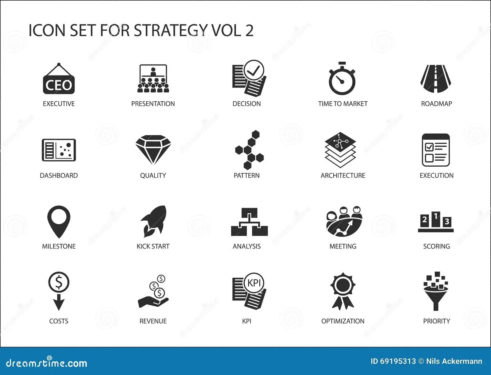 El Icono De La Estrategia Fijo Con Los Diversos Simbolos